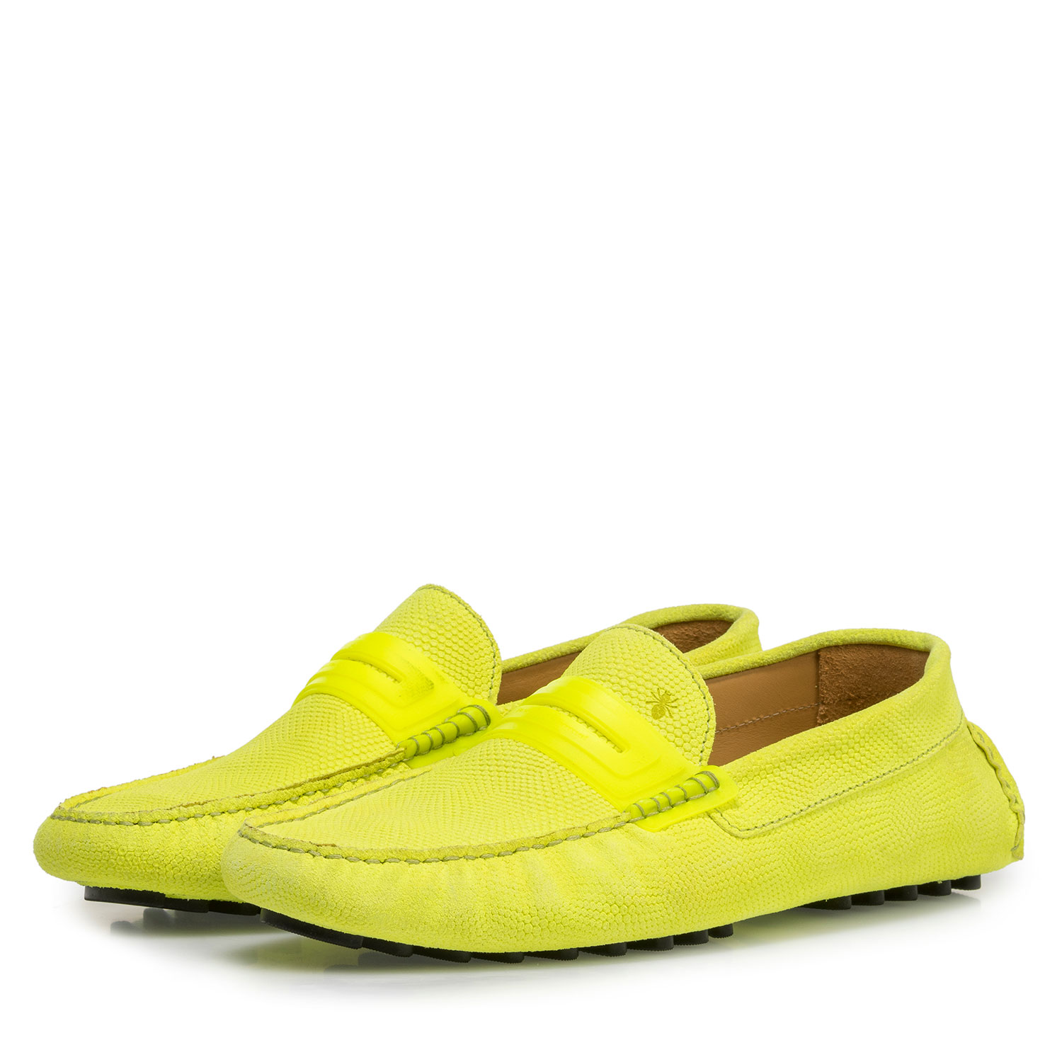 15215/01 - Premium fluorescent yellow leather moccasin