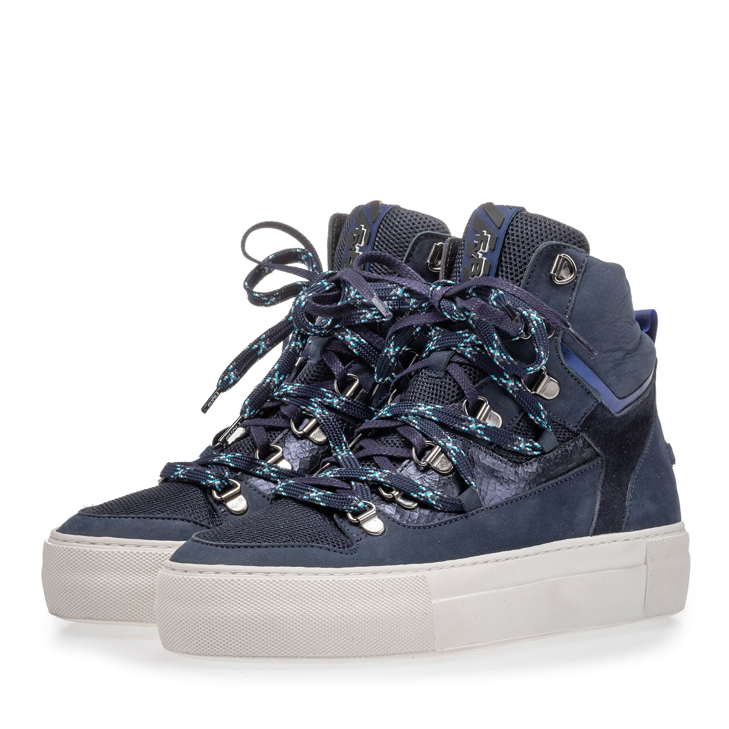 85315/01 - Mid-high sneaker nubuck leather blue