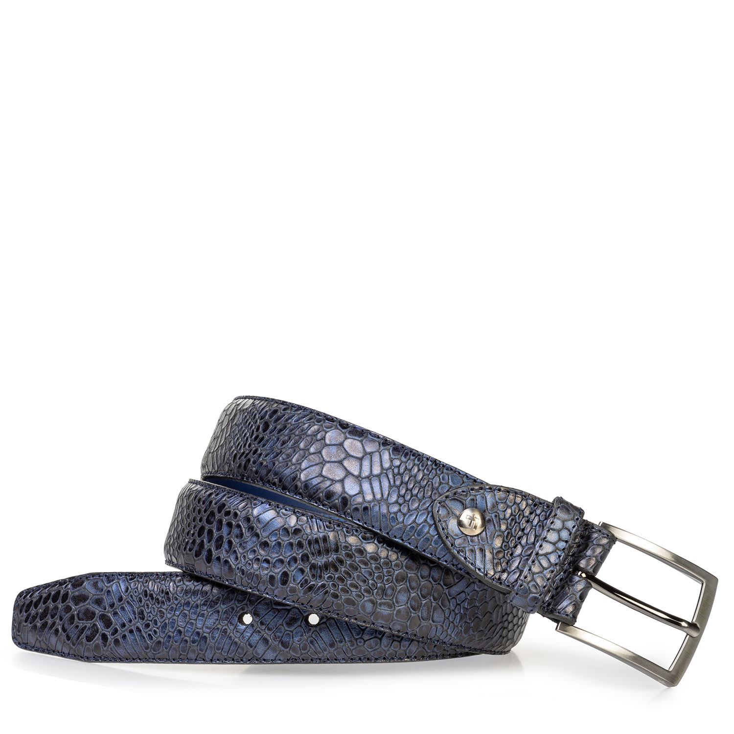 75203/17 - Leather belt metallic blue