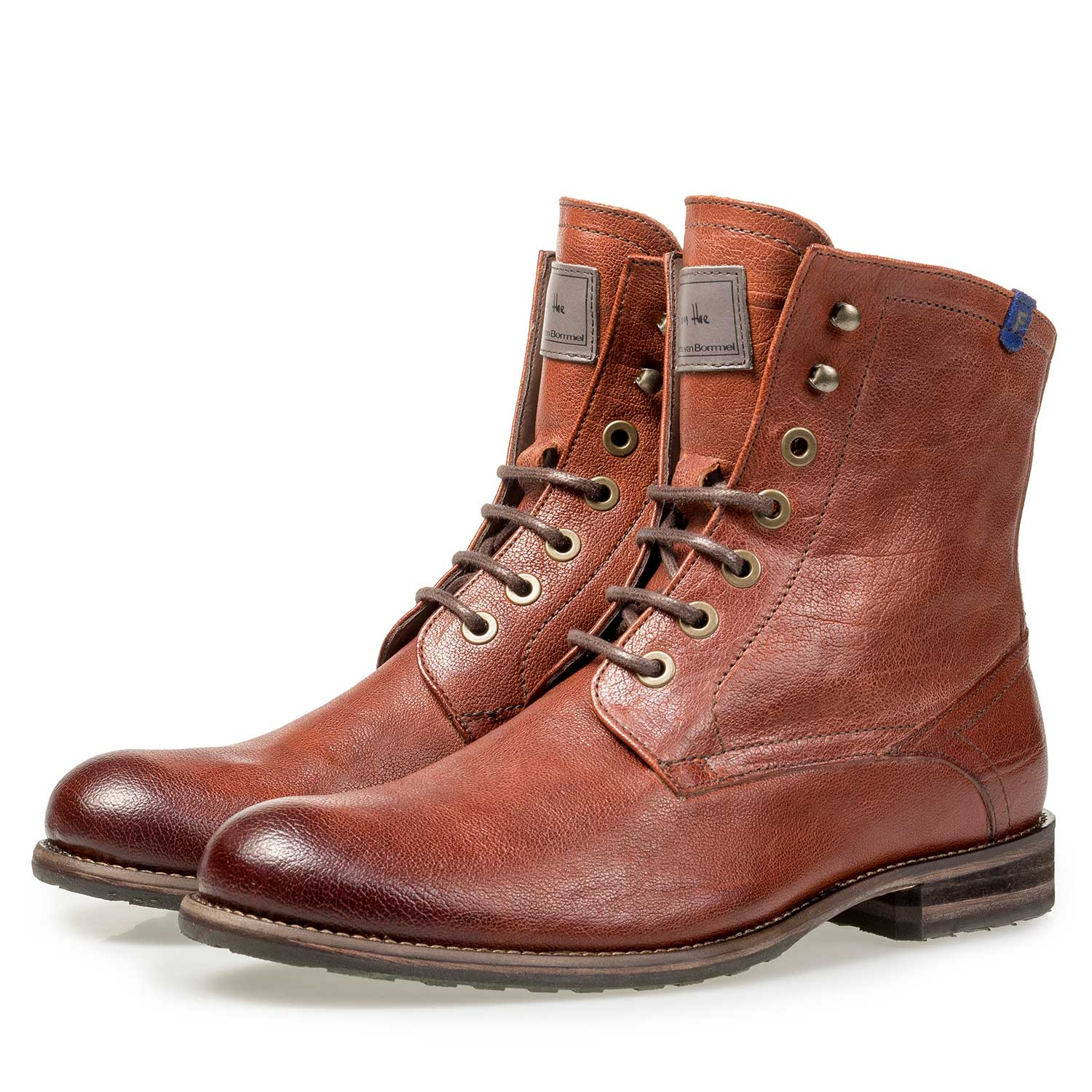 10751/14 - Wool lined cognac-coloured leather lace boot