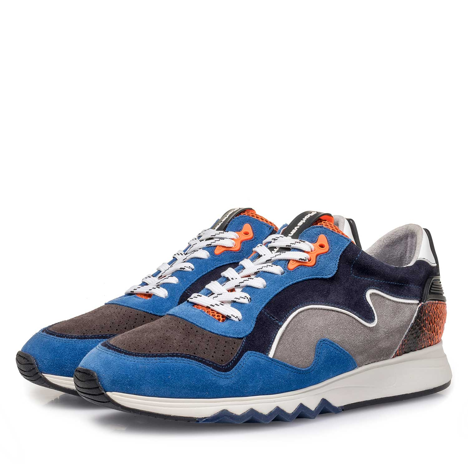 16092/05 - Blue-orange suede leather sneaker