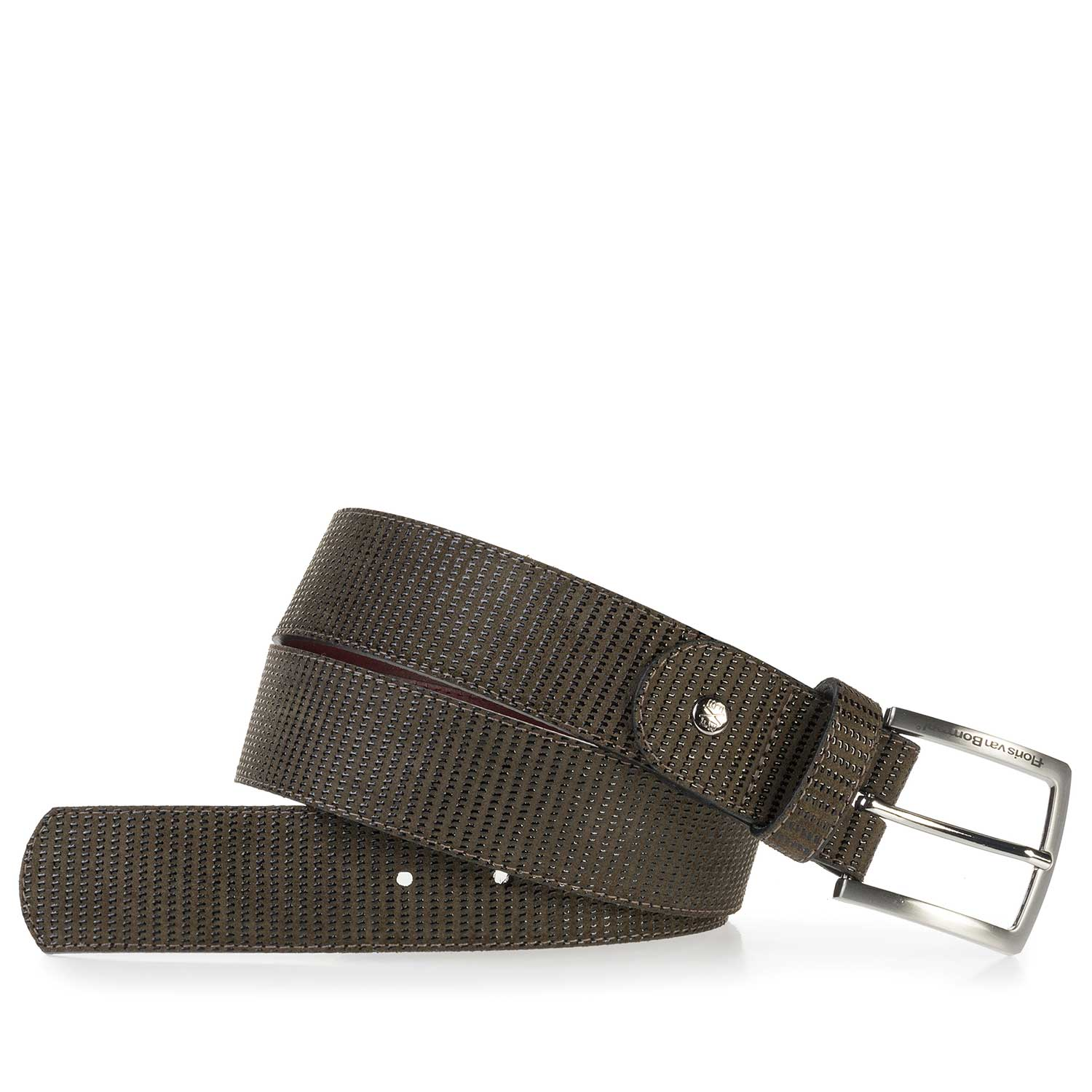 75184/00 - Olive green, printed suede leather belt