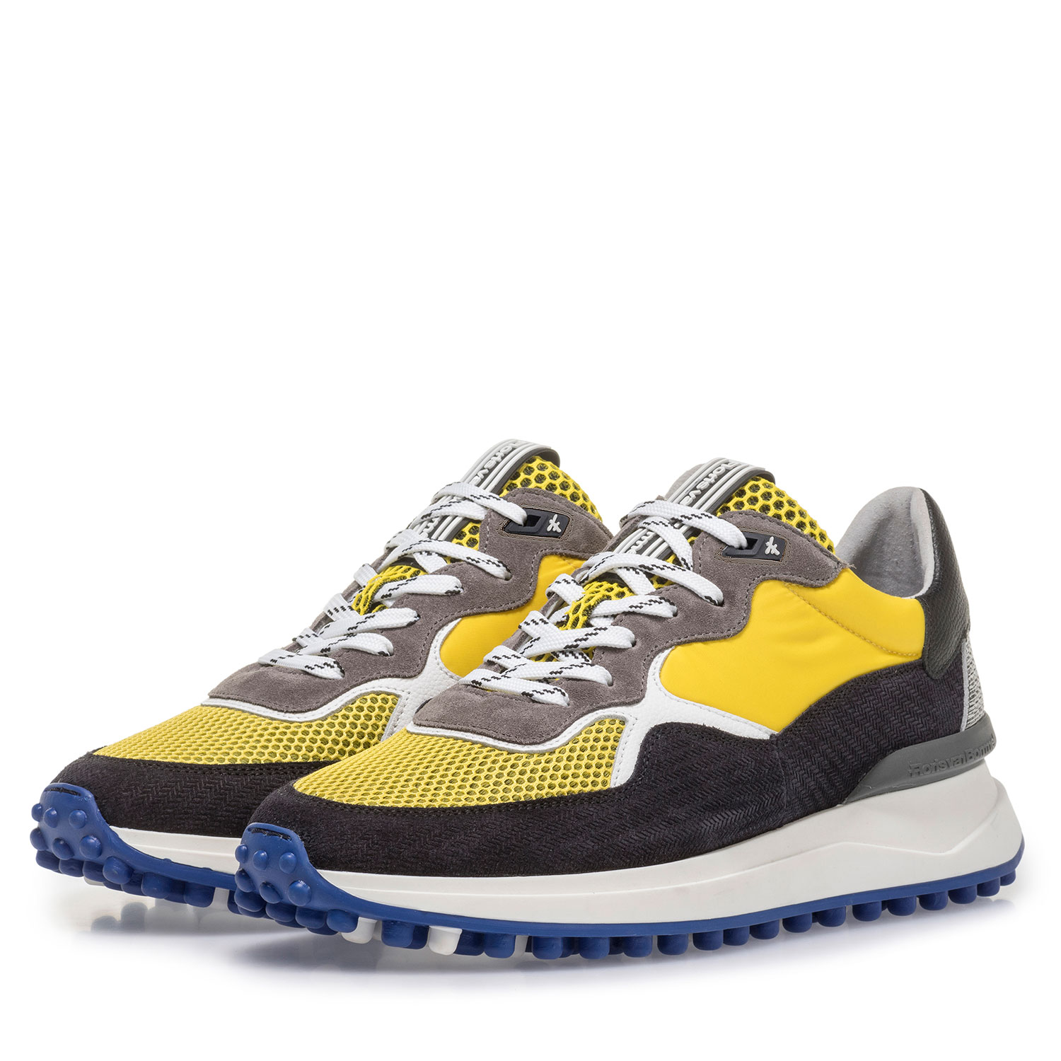 16301/07 - Multi-colour suede leather sneaker with yellow details