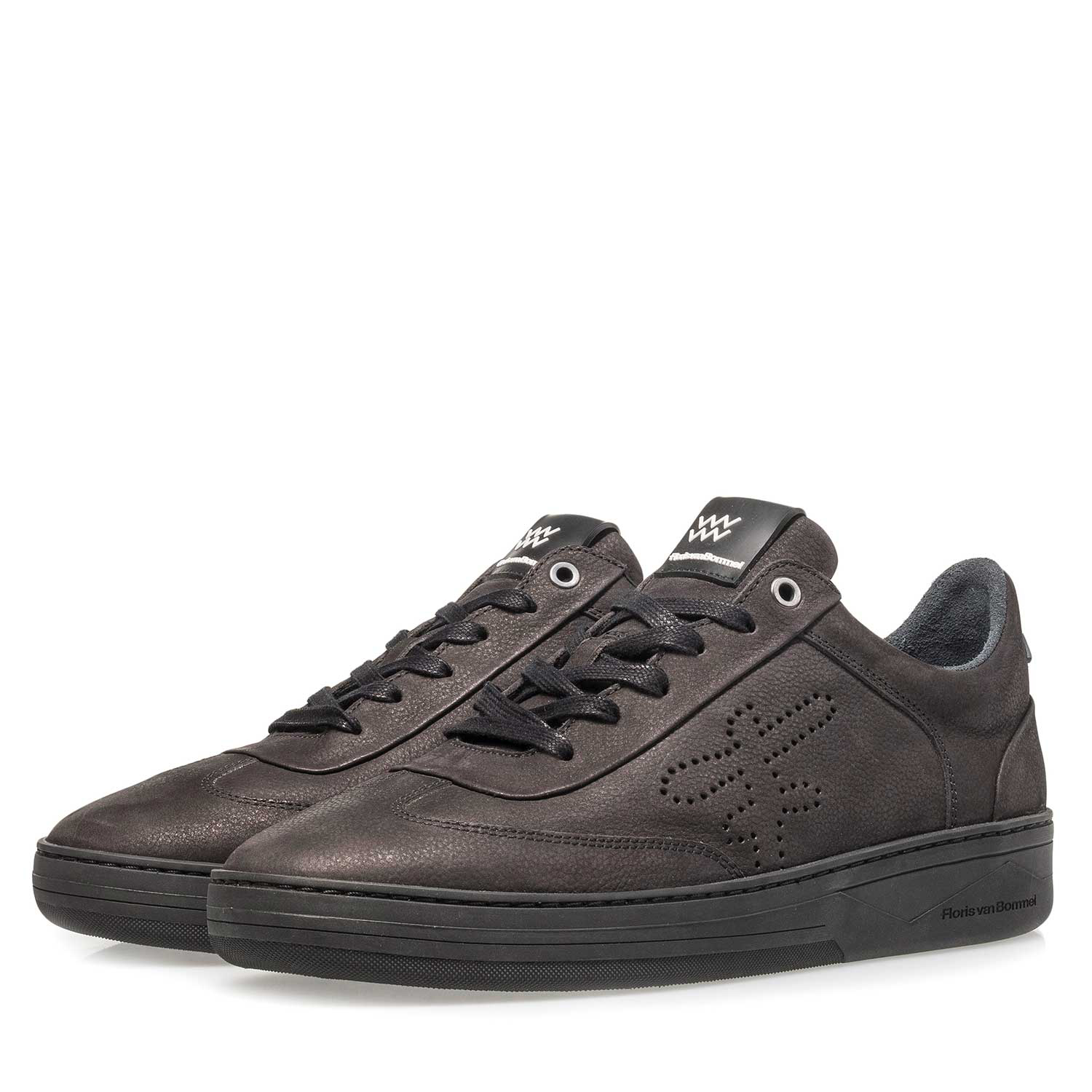 16255/07 - Black printed nubuck leather sneaker