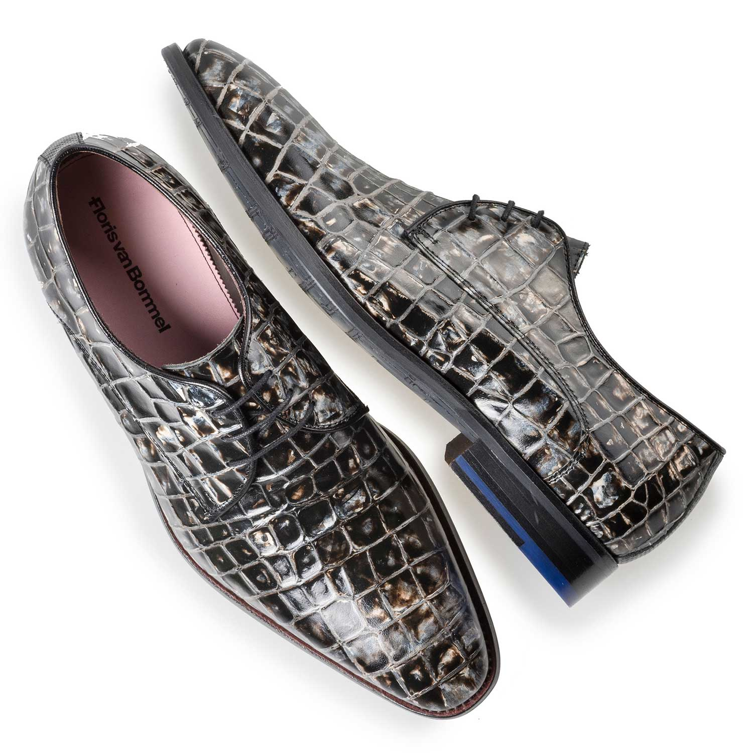 18071/02 - Grey-black leather lace shoe with croco print