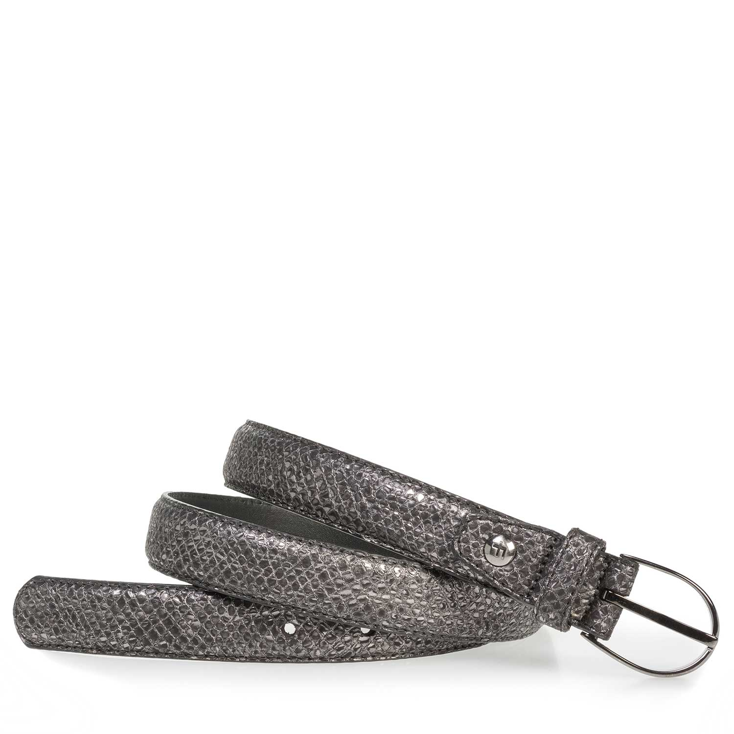 75813/43 - Grey leather belt with metallic print