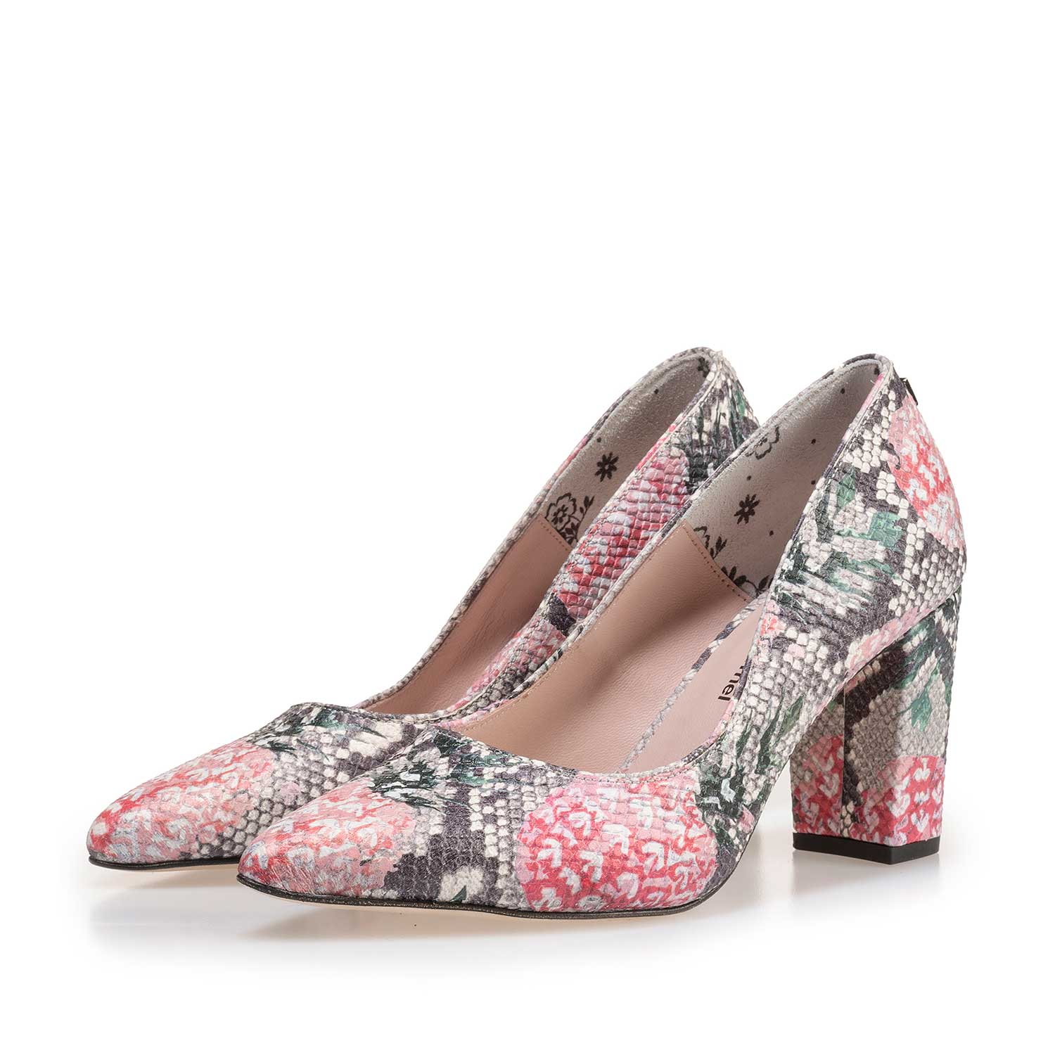 85227/02 - Multi-coloured leather pumps with printed motif
