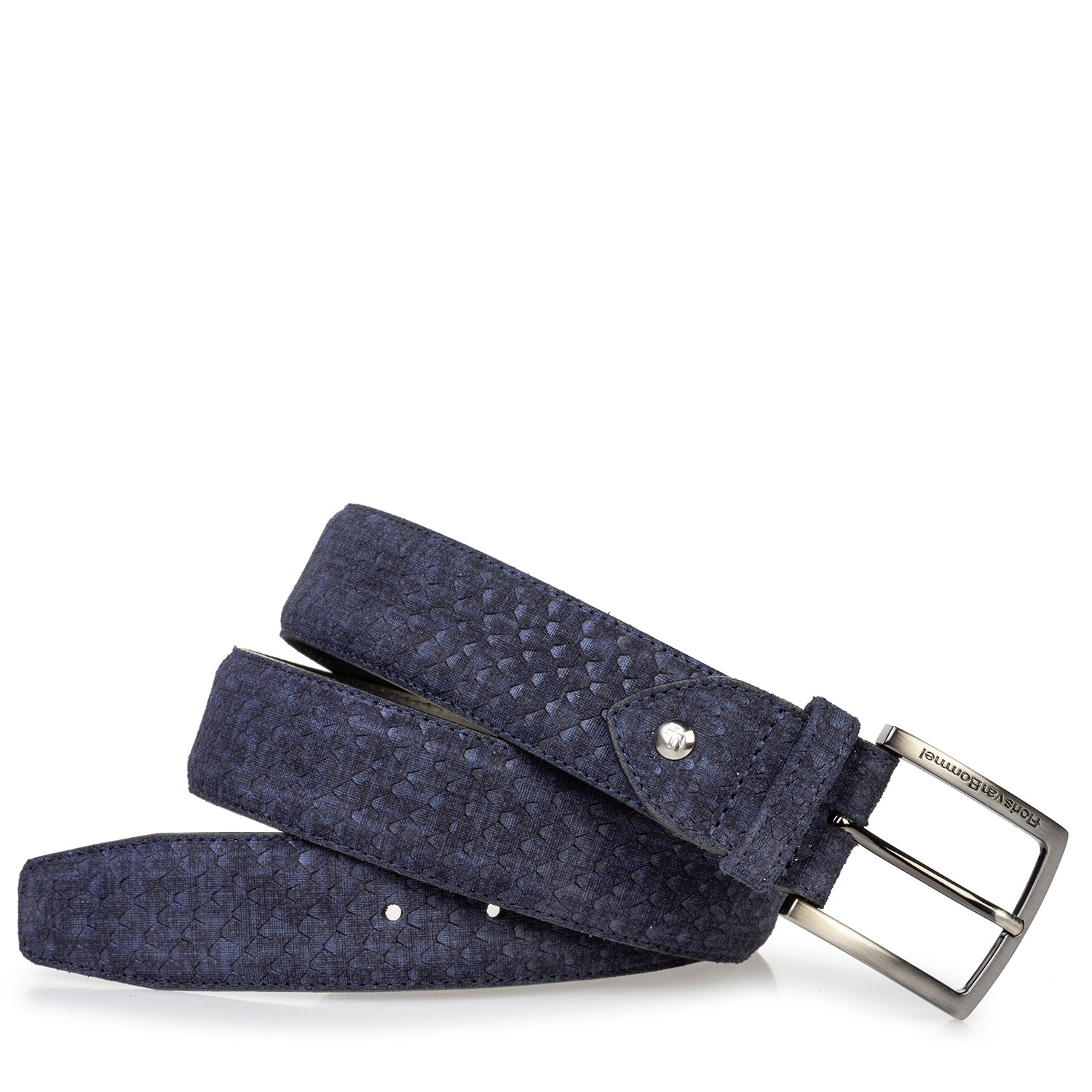 75204/06 - Suede leather belt blue with print