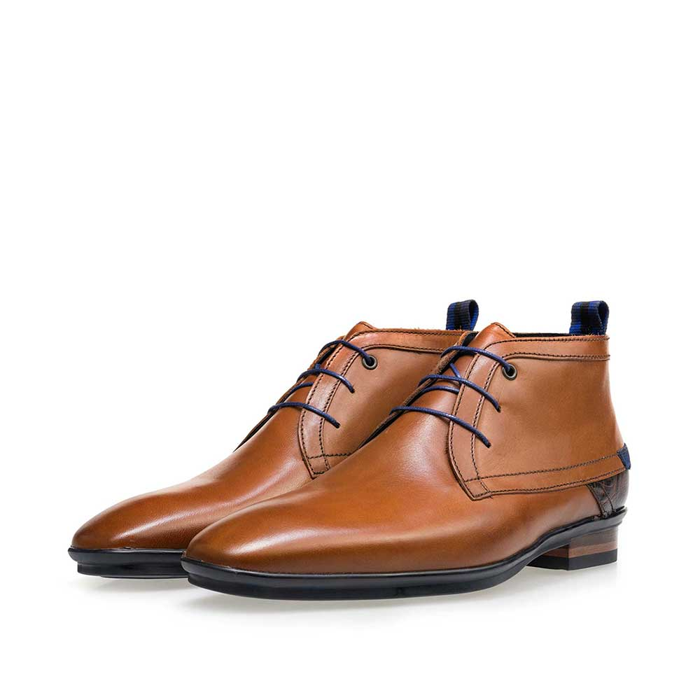 10334/29 - Floris van Bommel cognac leather men's lace-up boot