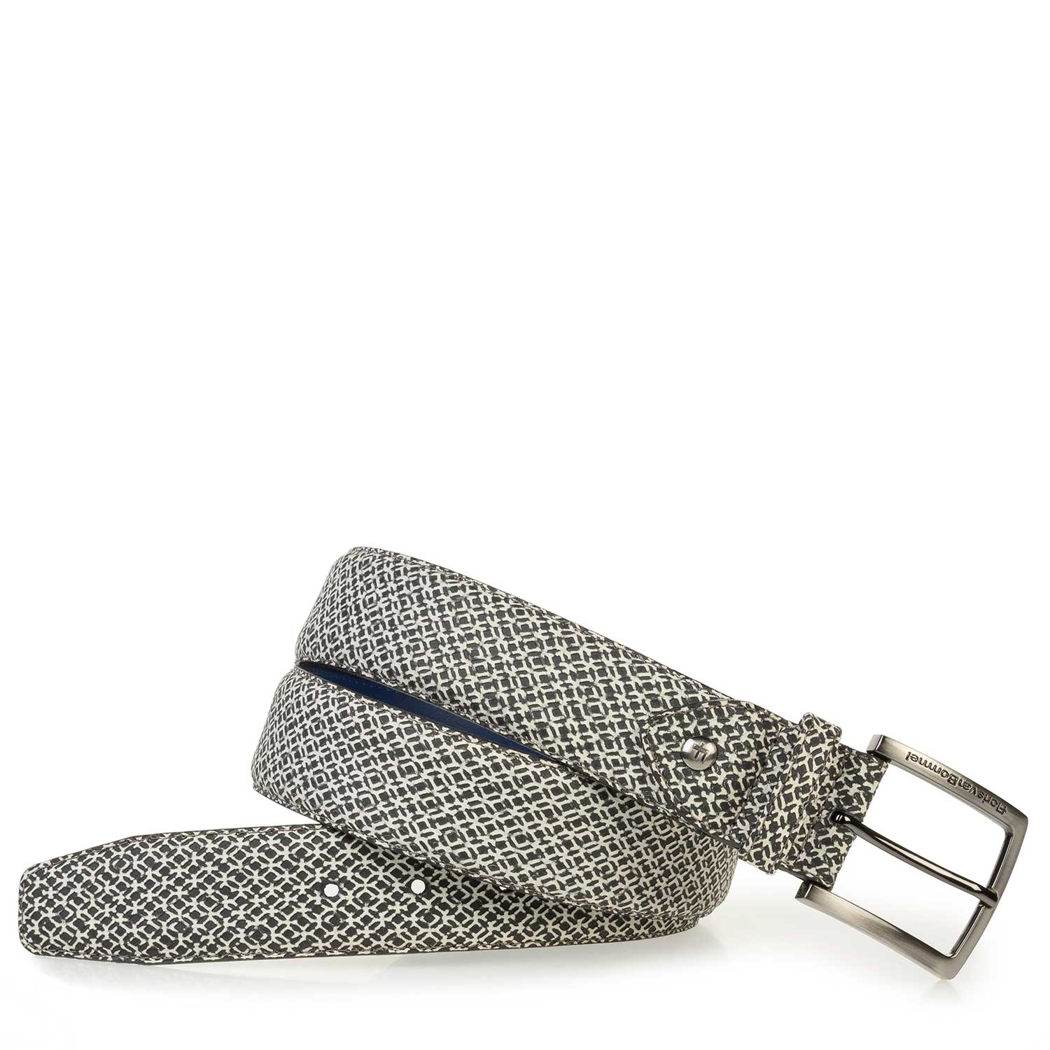 75189/59 - White calf leather belt with a black geometric print