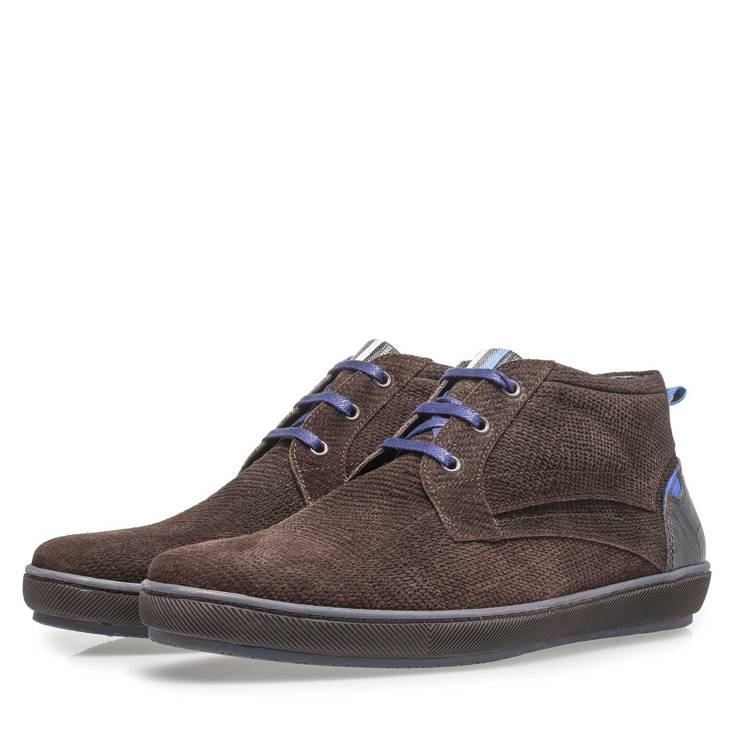 10074/16 - Dark brown printed suede leather lace shoe