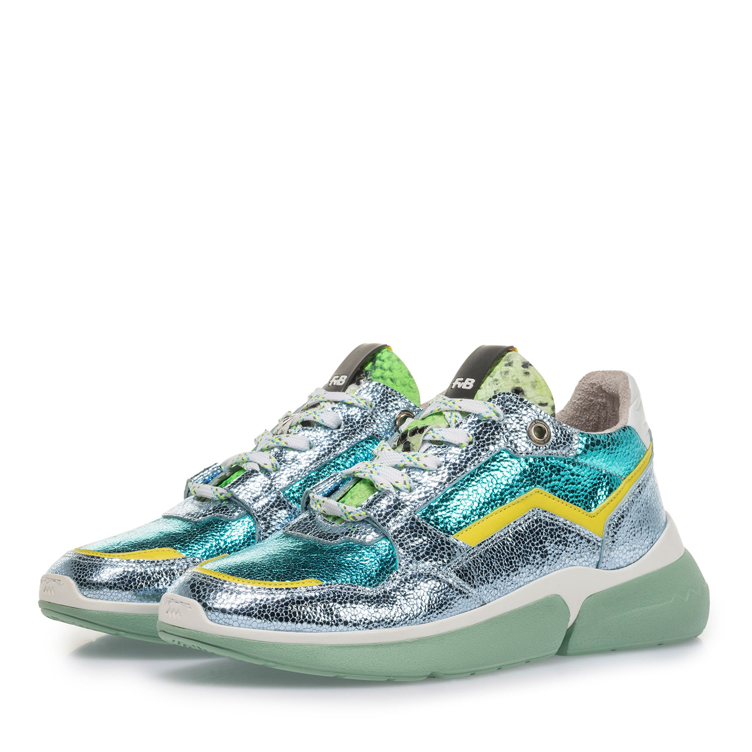 85291/15 - Light blue leather sneaker with metallic print