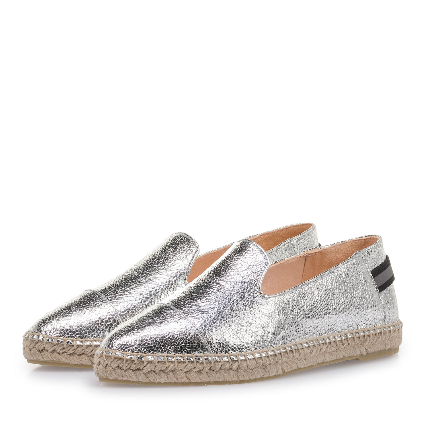 85420/03 - Silver leather espadrilles with metallic print