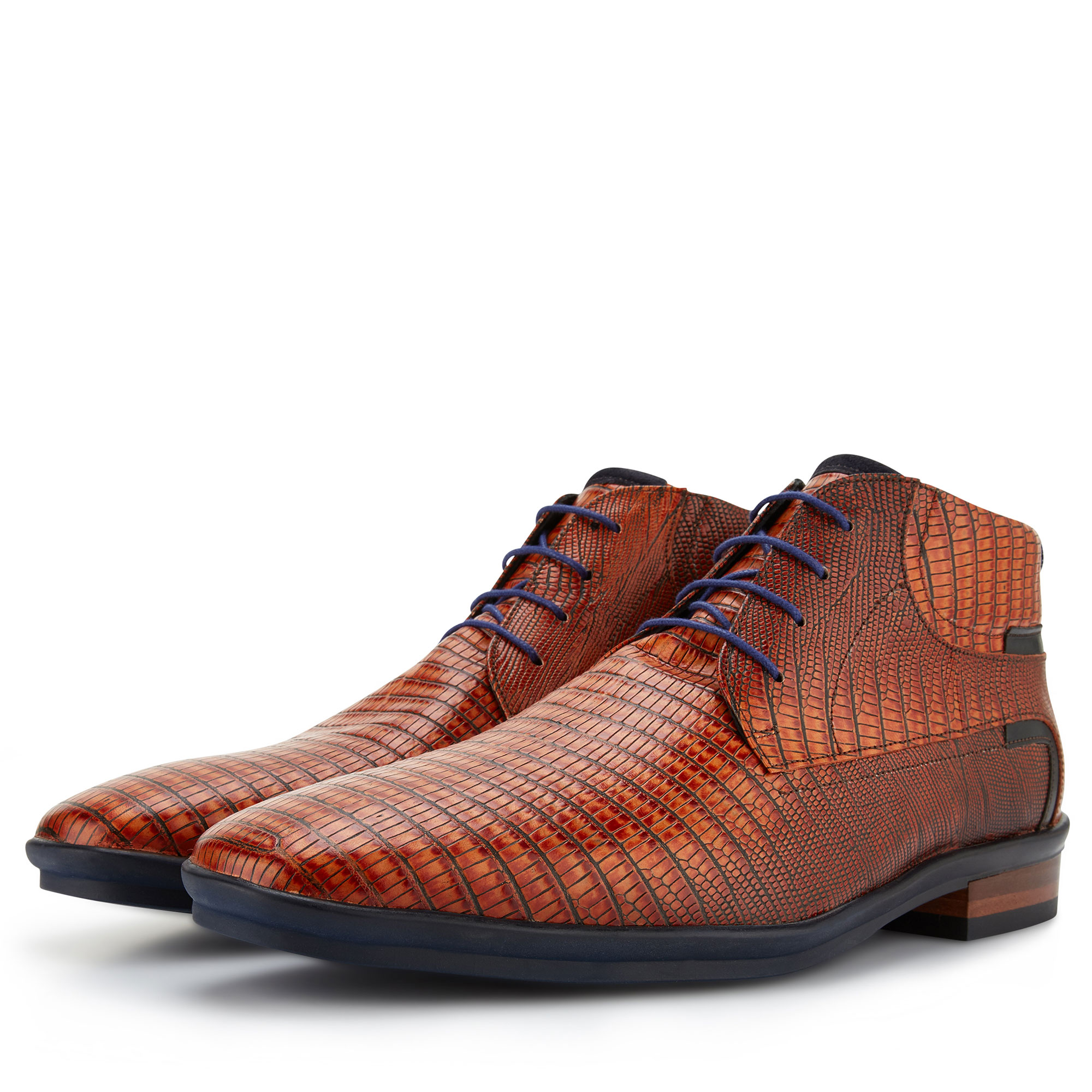 10879/00 - Floris van Bommel cognac lizardprint veterboot