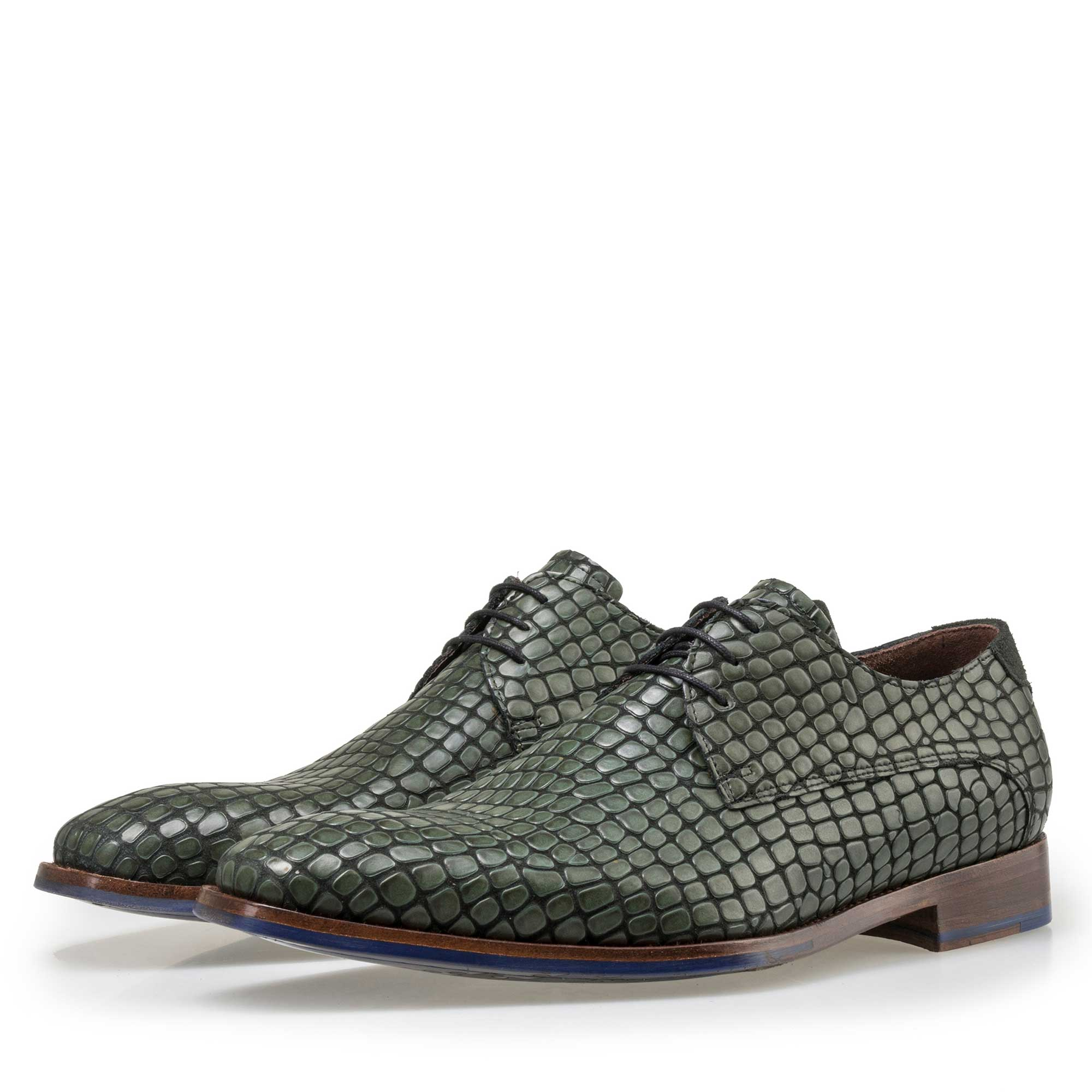 18043/01 - Floris van Bommel black calf's leather lace shoe finished with a green reptile pattern