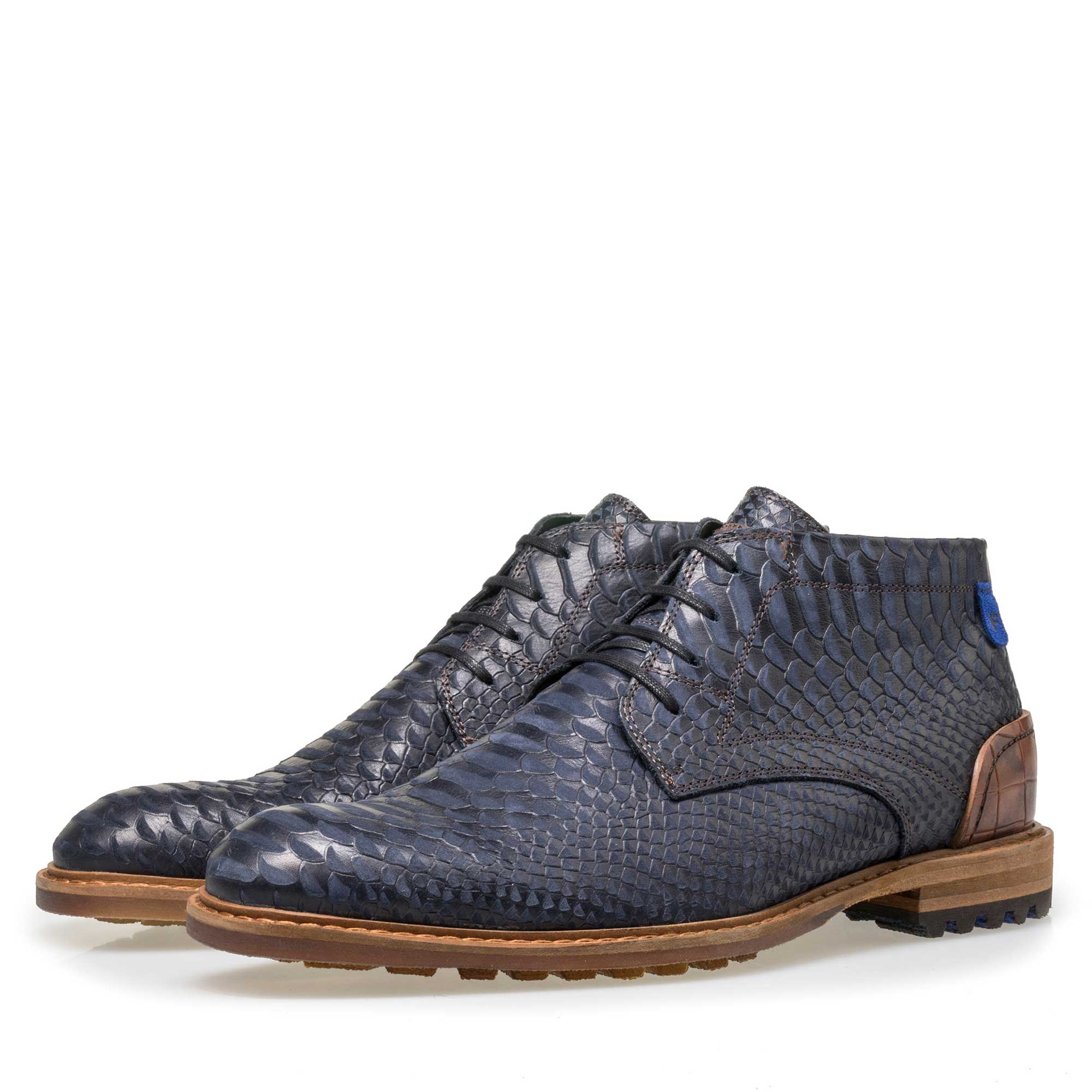 10907/07 - Floris van Bommel men's blue leather lace boot finished with a snake print