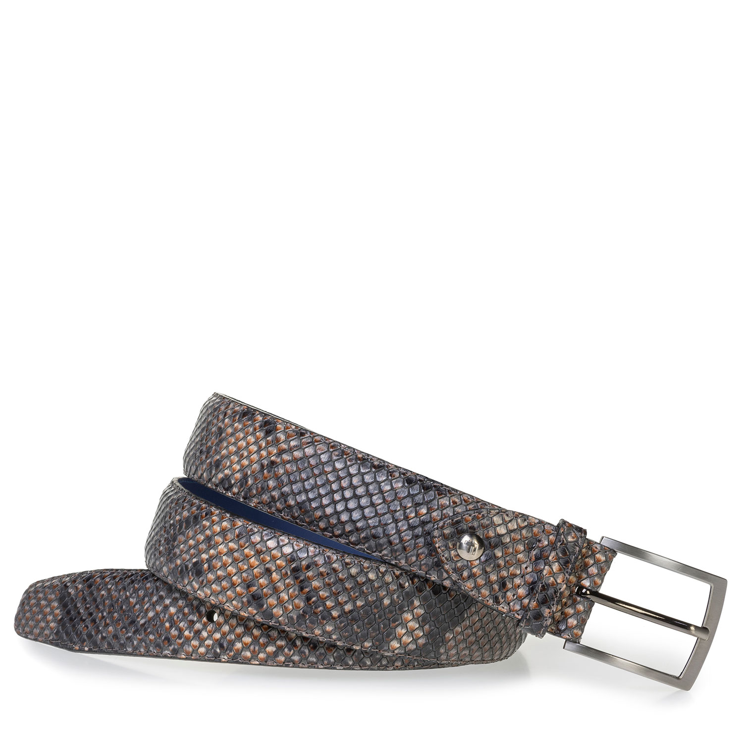 75200/90 - Brown leather belt with snake print