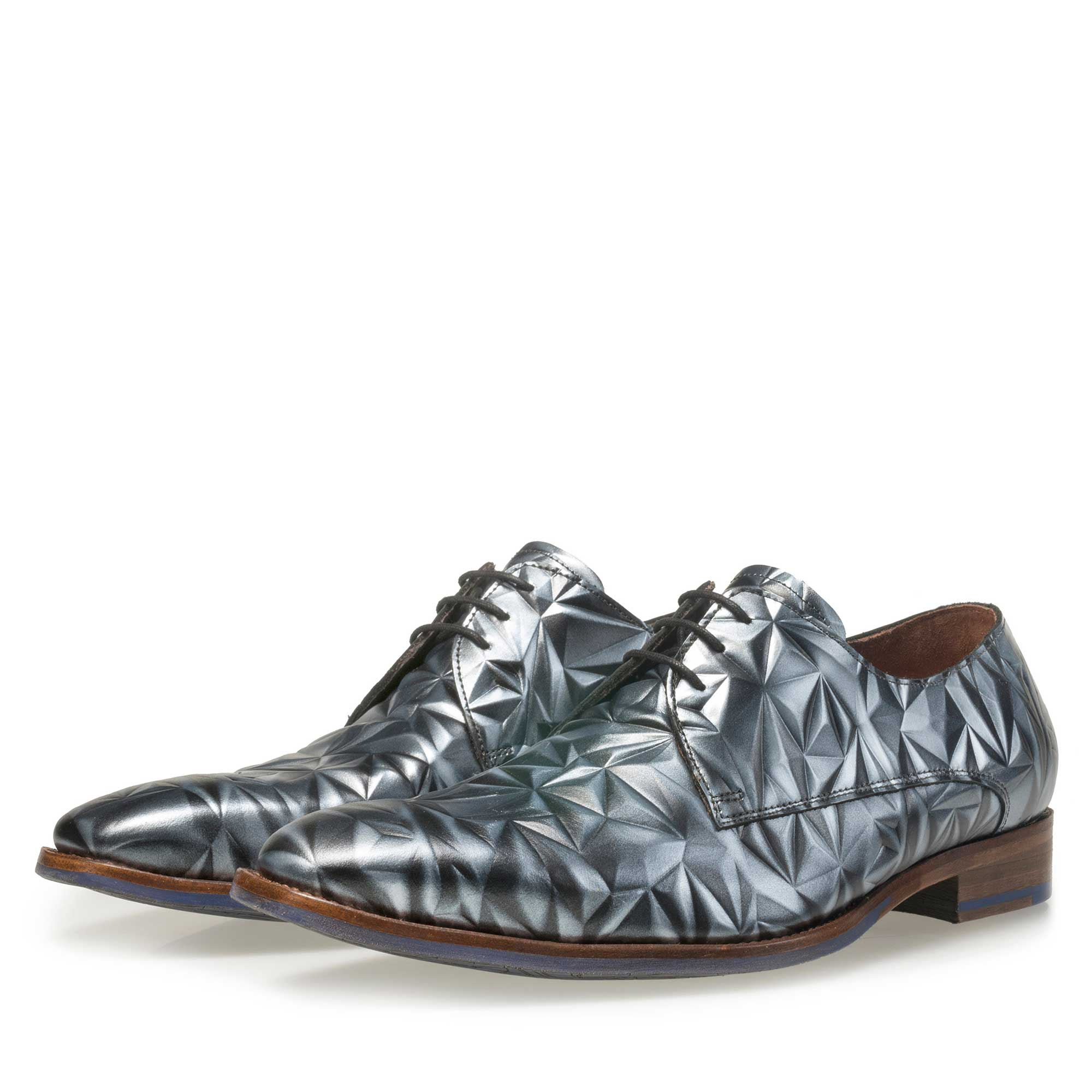 14237/02 - Floris van Bommel men's grey leather lace shoe finished with a silver 3D effect