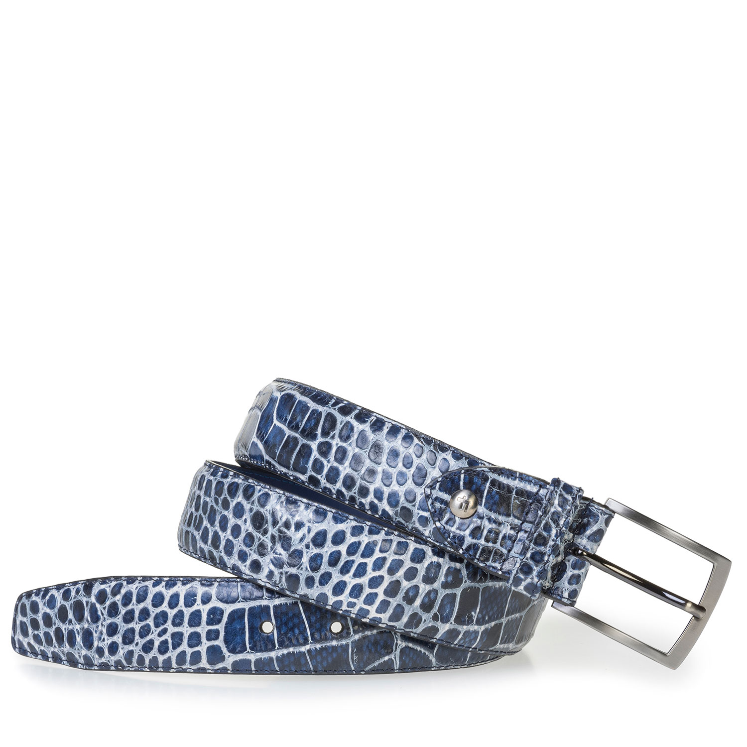 75203/04 - Blue leather belt with croco print