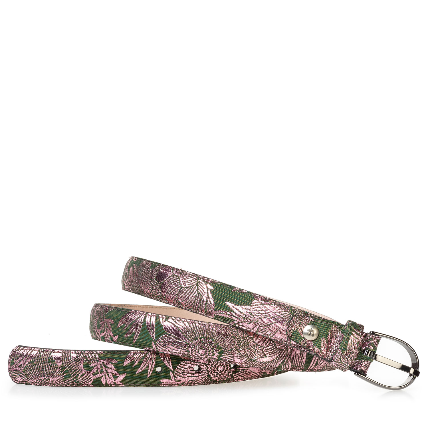 75813/77 - Women's belt green with pink print