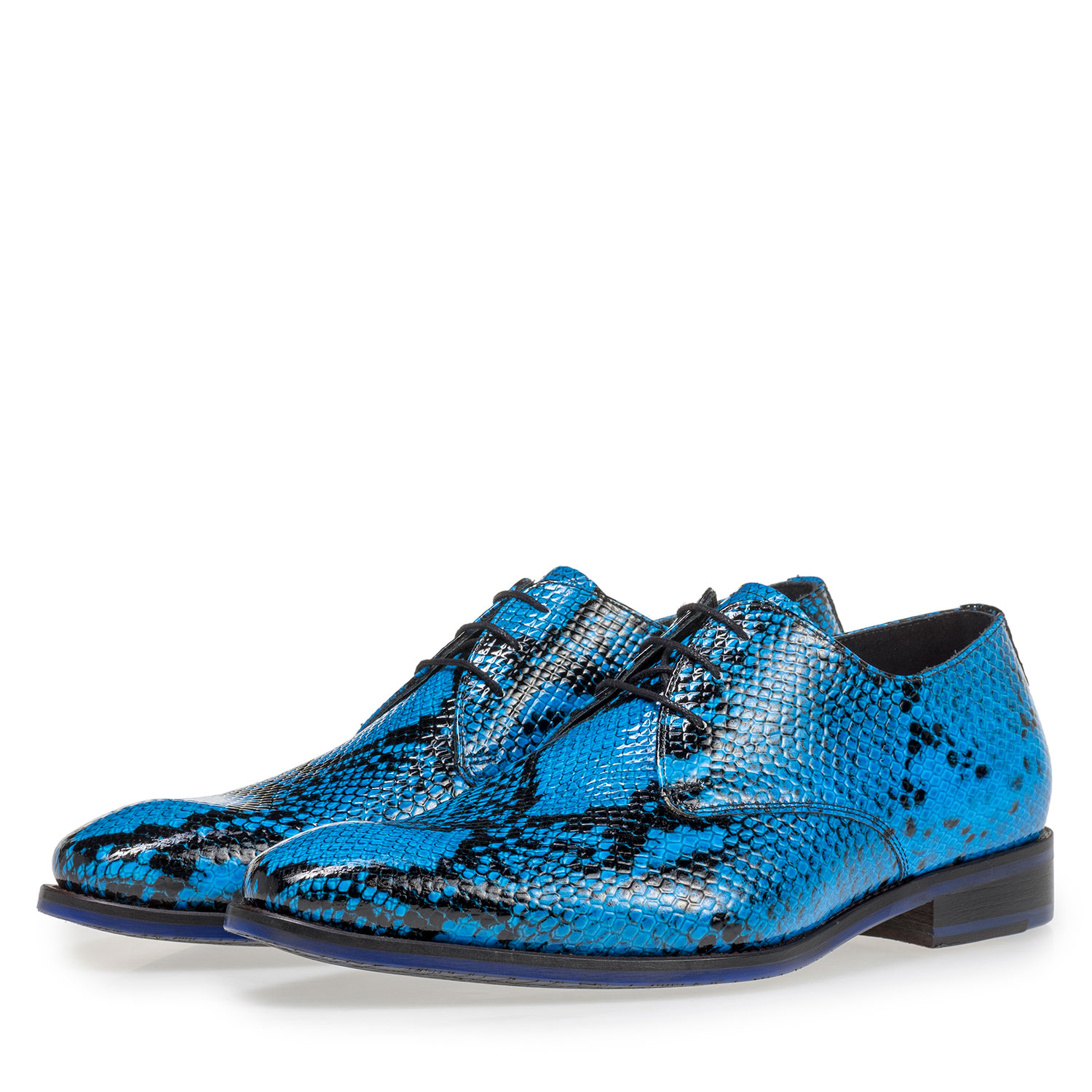 18124/07 - Premium blue lace shoe with snake print