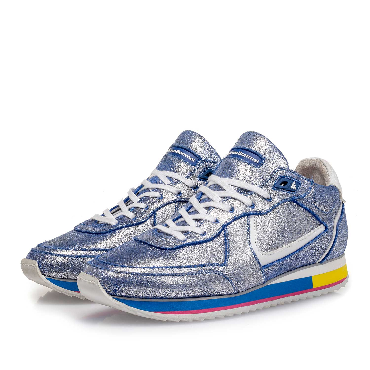 85260/14 - Silver metallic leather sneaker with blue changing effect