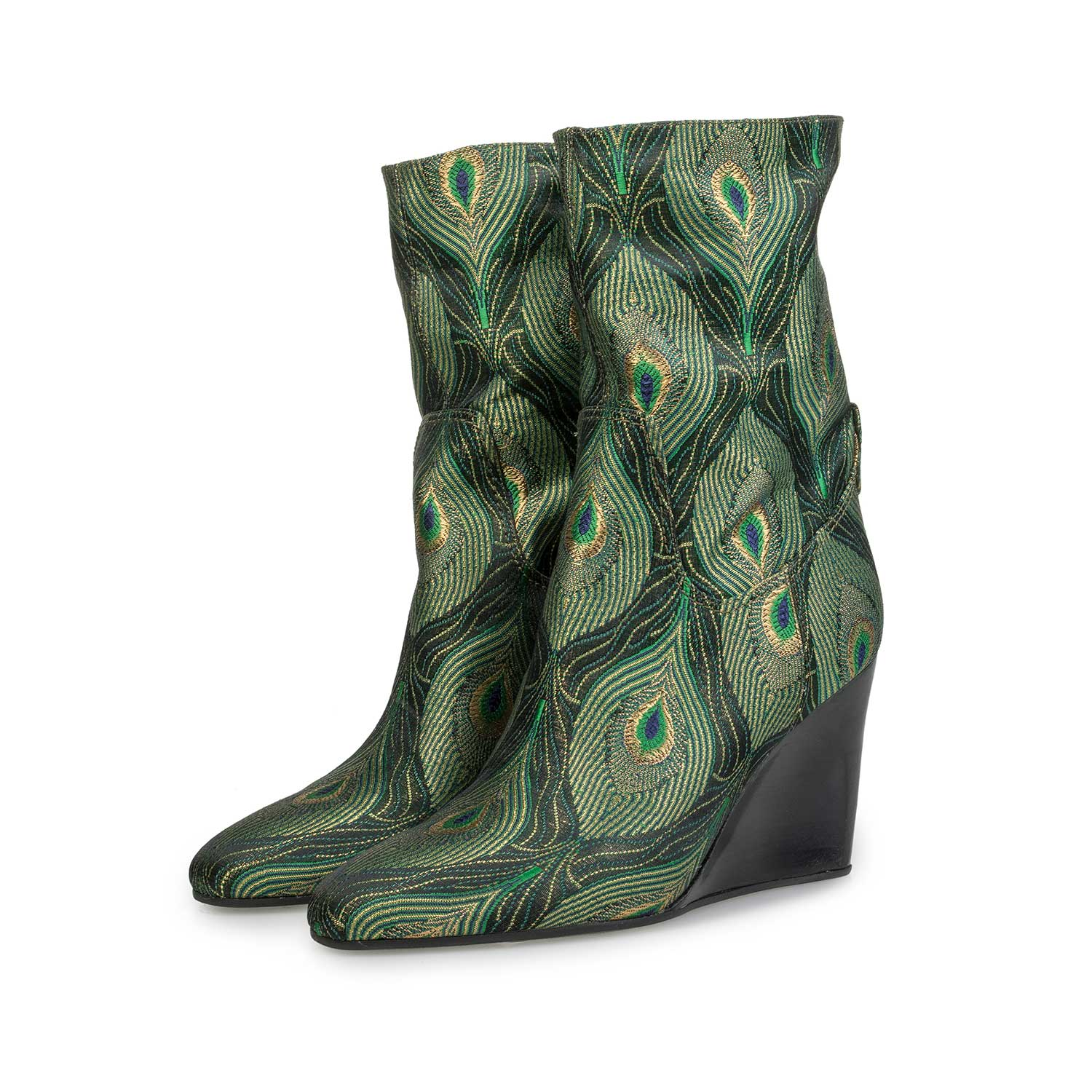 85707/02 - Mid-high boot with green peacock print