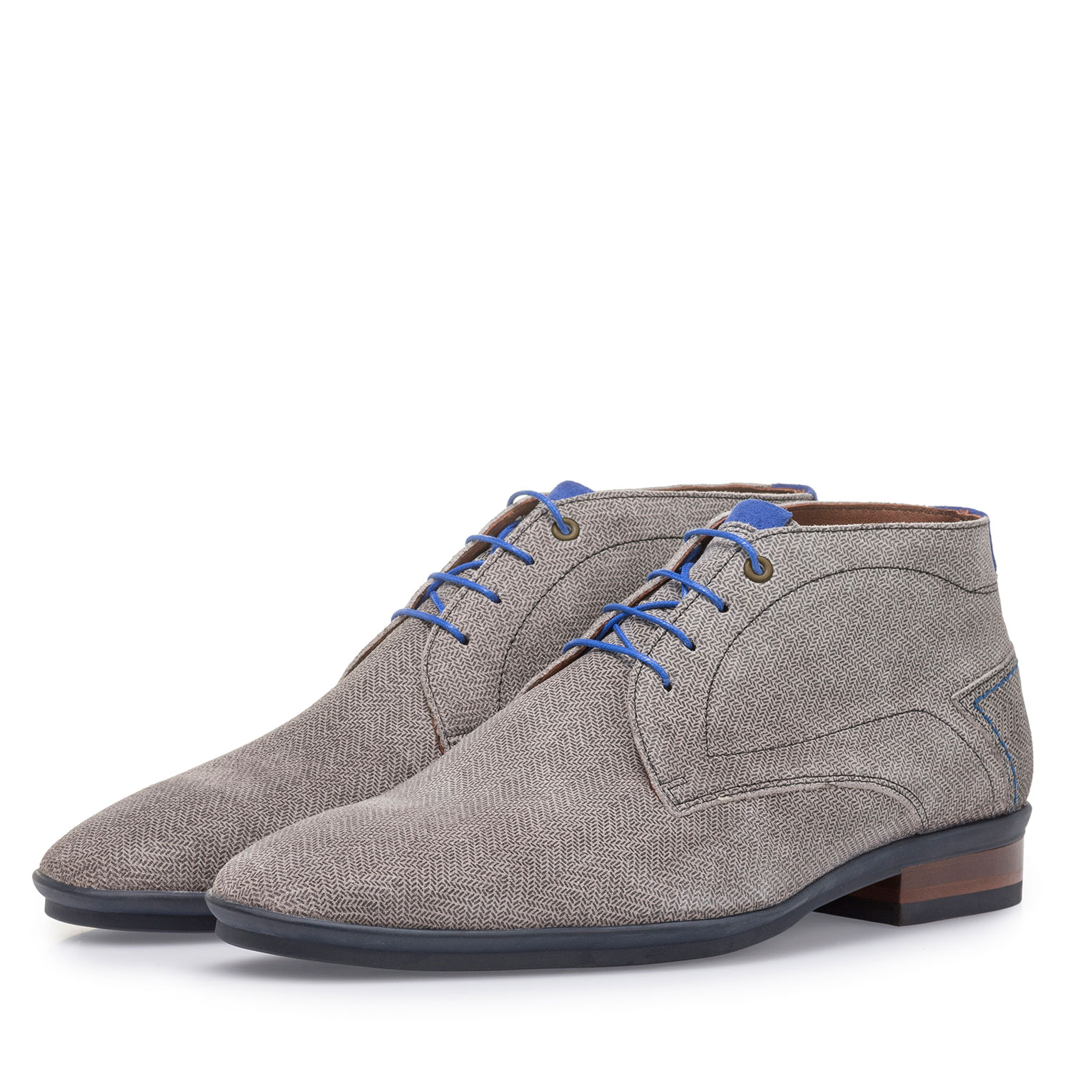 20440/08 - Light grey suede leather lace boot with print