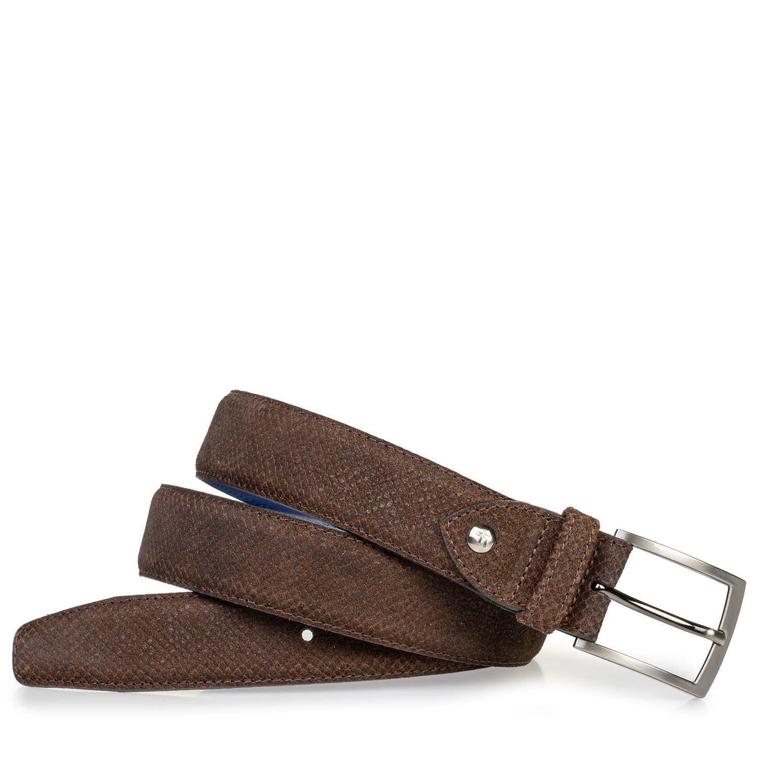75203/21 - Suede leather belt with print cognac