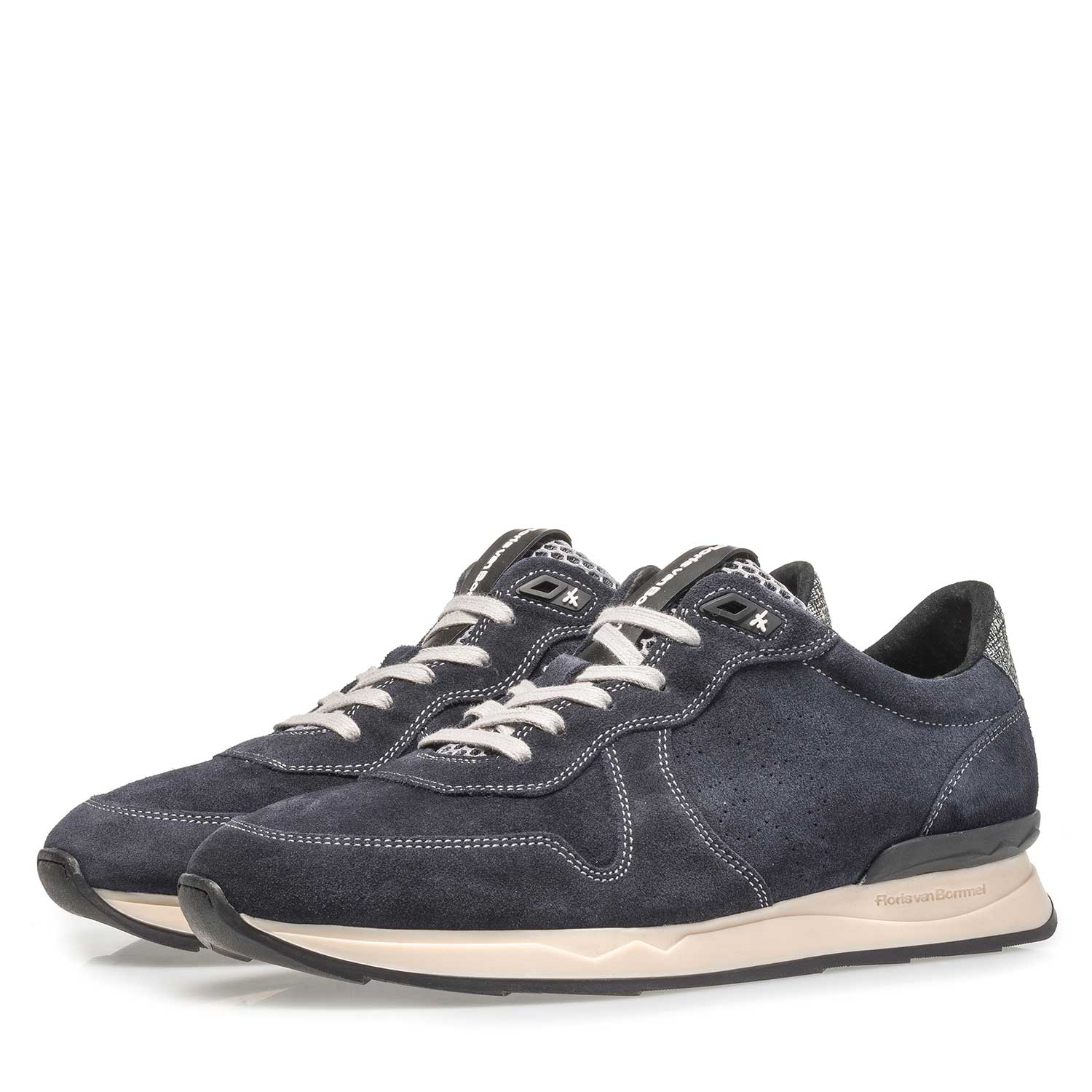 16277/00 - Dark blue suede leather lace shoe