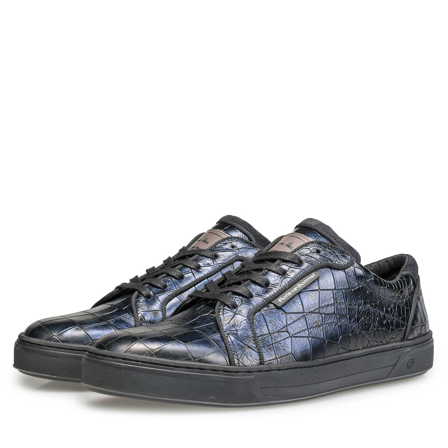 13214/04 - Blue leather sneaker with croco print