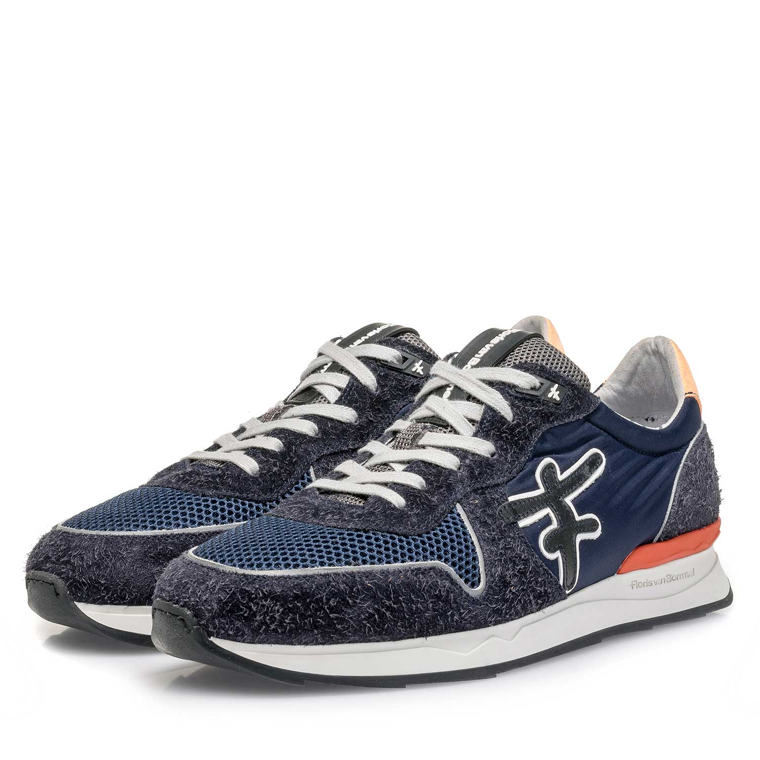 16246/01 - Dark blue-orange suede leather sneaker