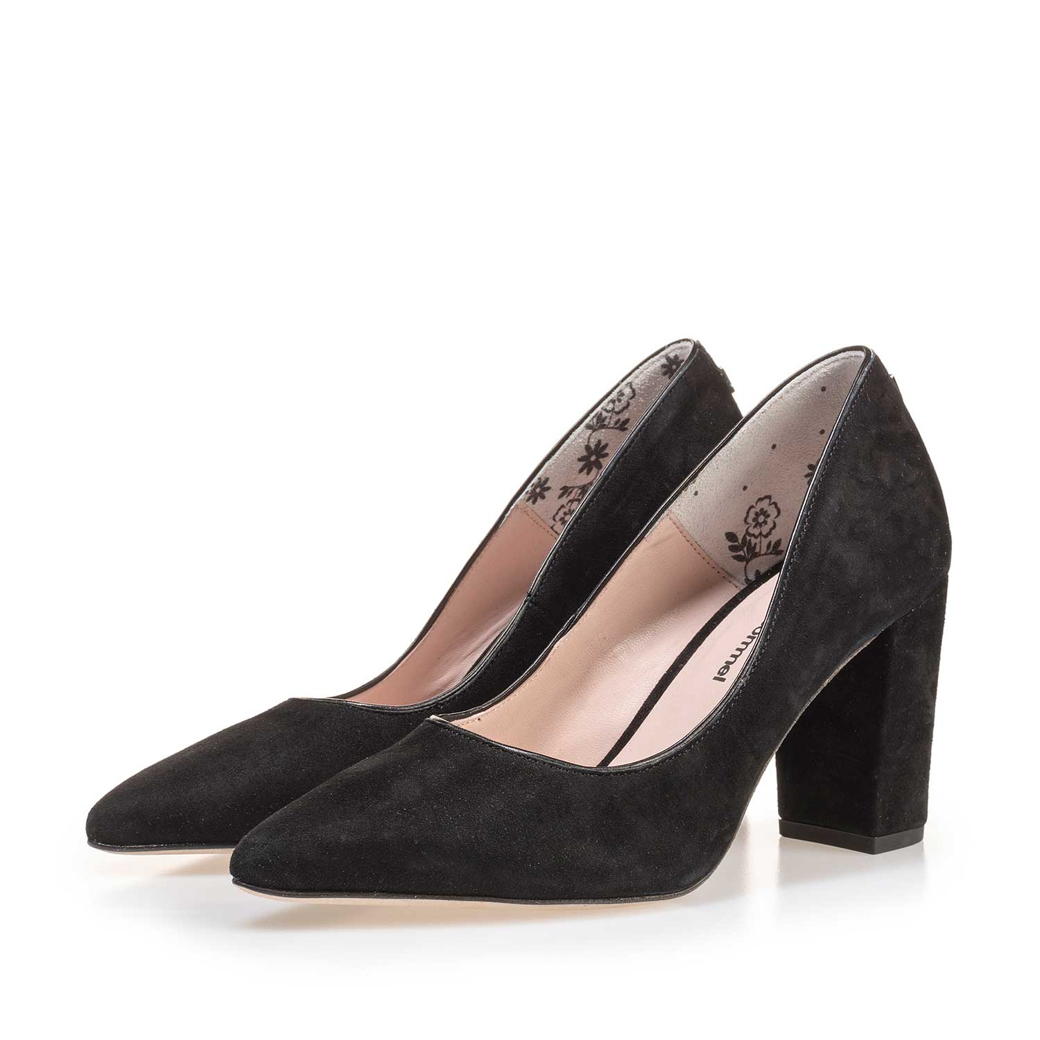 85227/05 - Black suede leather pumps