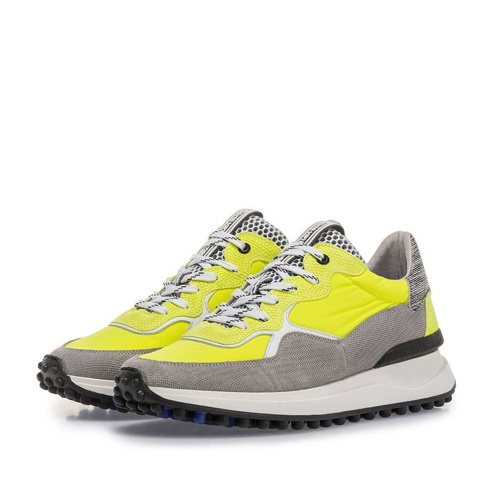 16303/10 - Premium grey and yellow suede leather sneaker