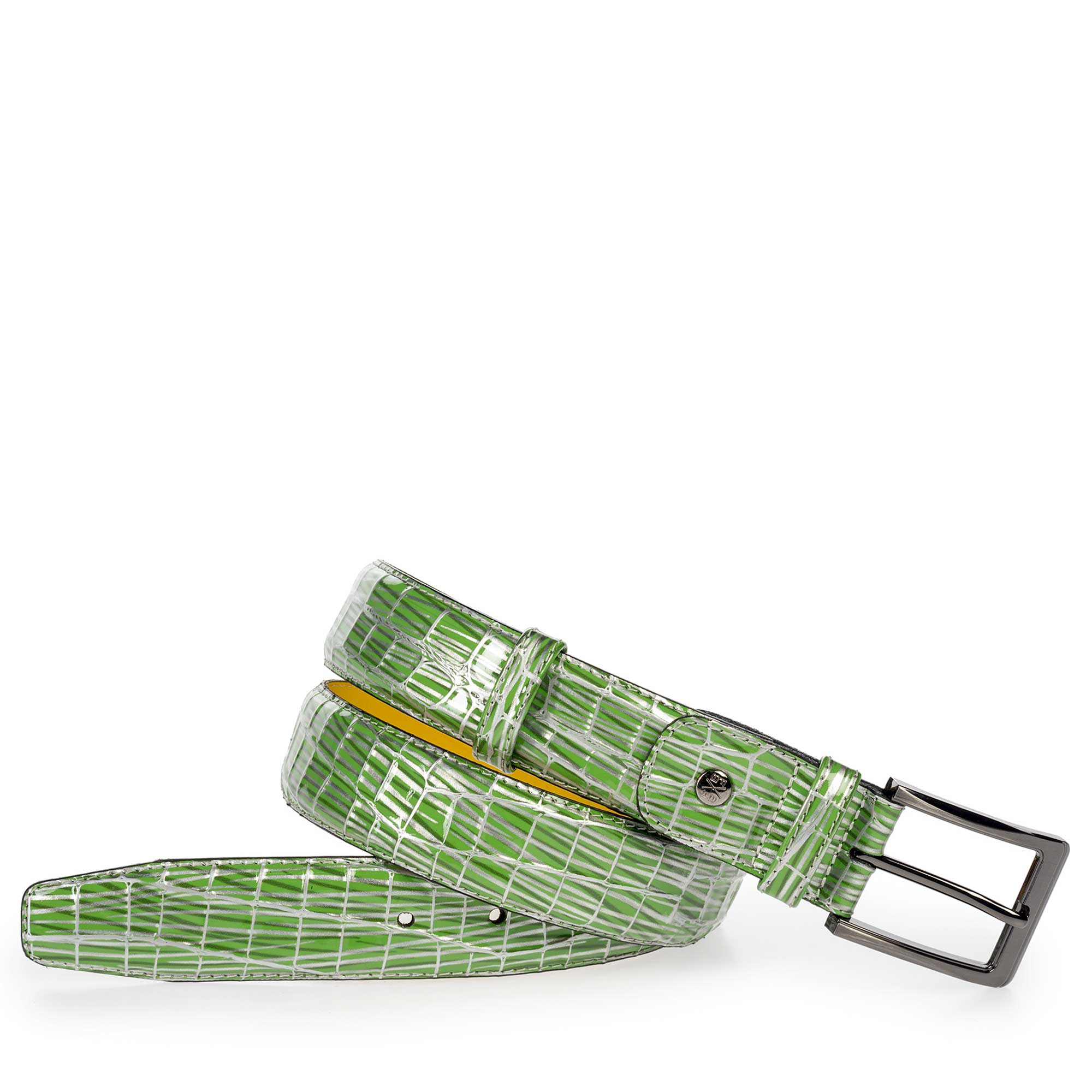 Green Patent Leather Belt 7518204 With Print Floris Van Bommel