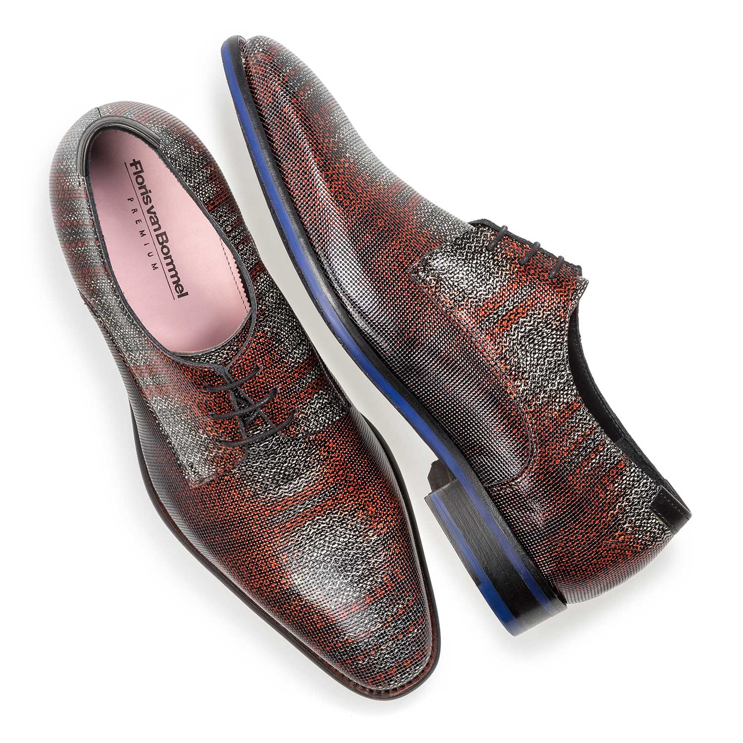 18097/02 - Premium dark red printed patent leather lace shoe