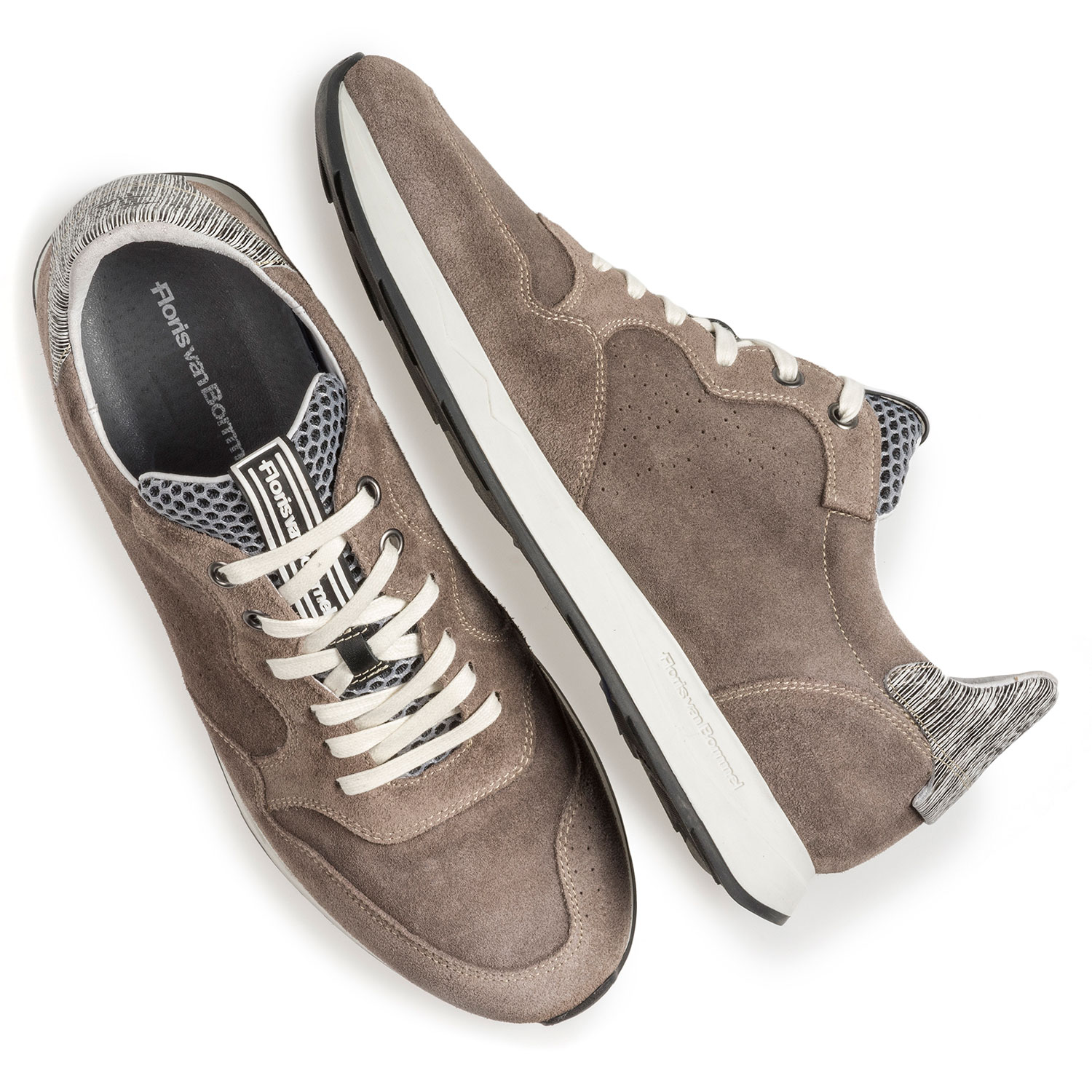 16446/02 - Taupe-coloured suede leather sneaker