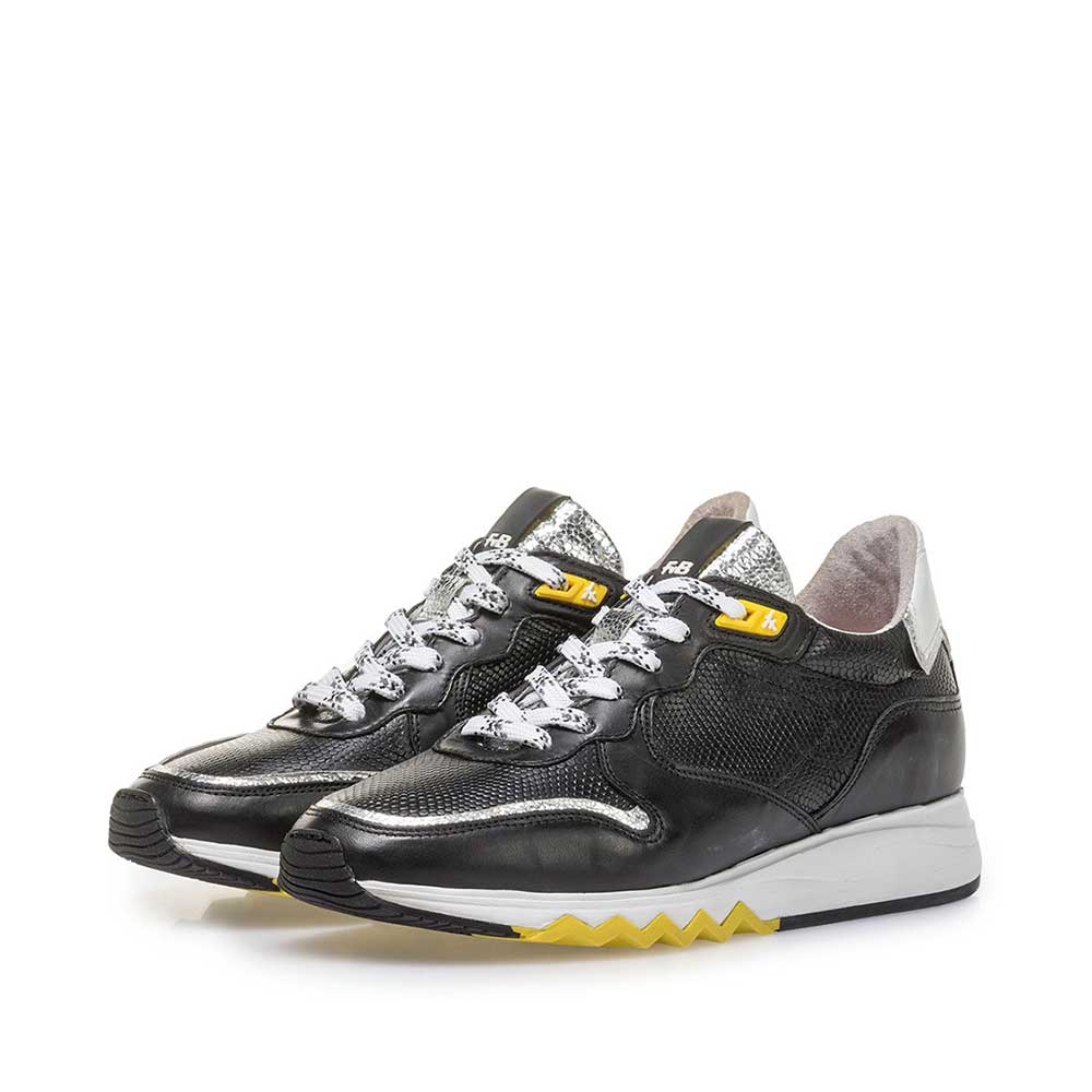 85302/03 - Black calf leather sneaker with yellow details