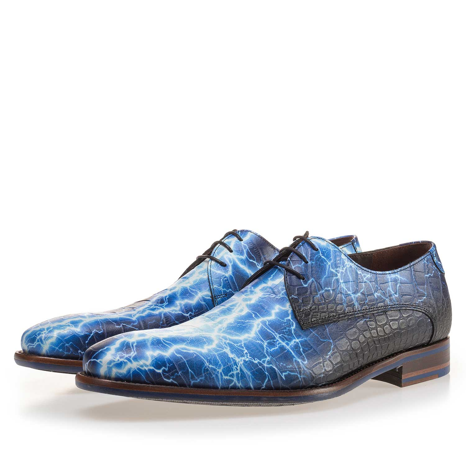 14267/00 - Premium blue printed leather lace shoe