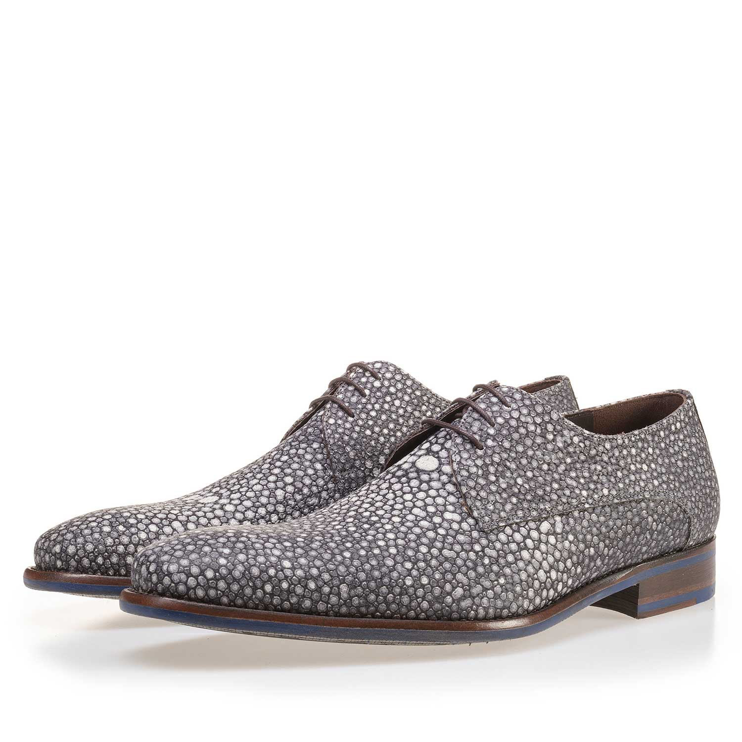 14194/01 - Grey leather lace shoe with pattern