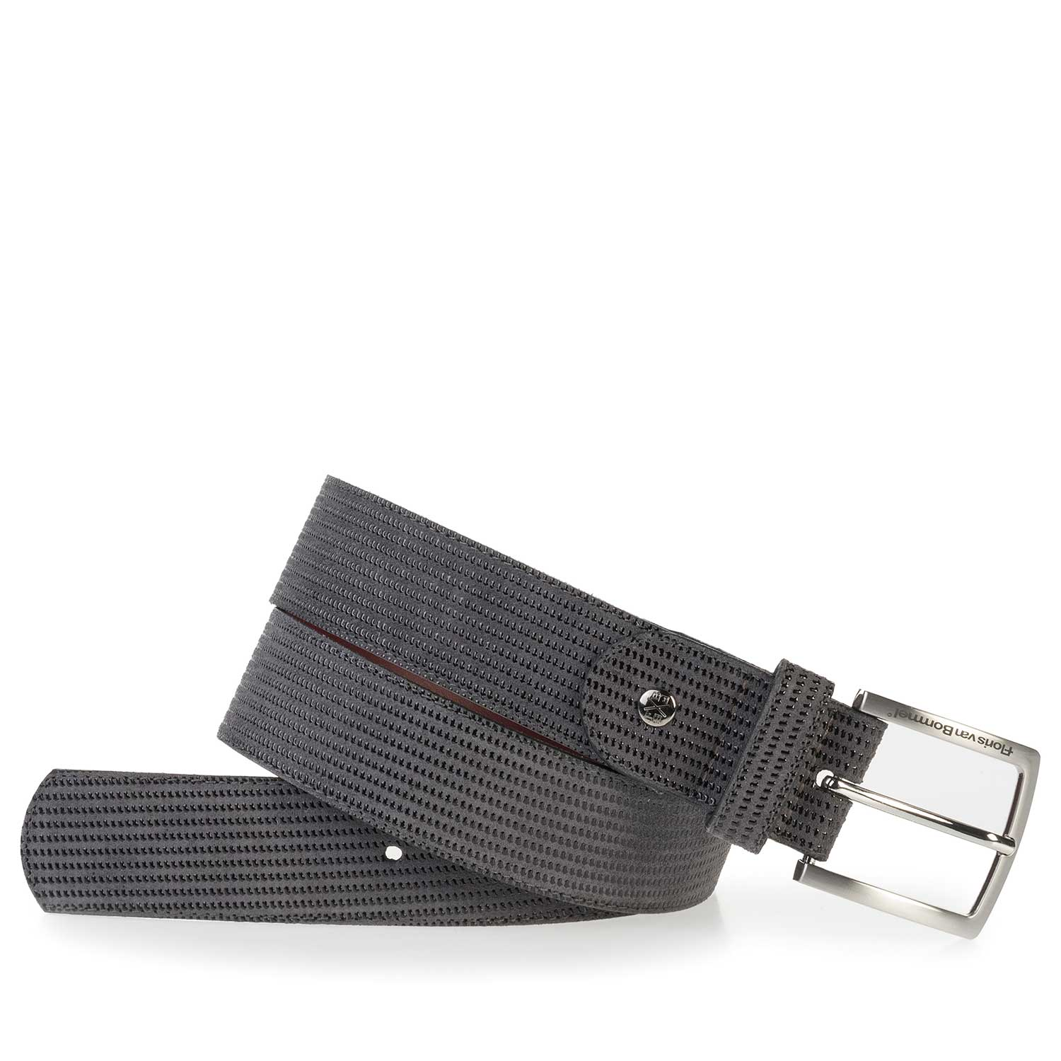 75184/03 - Dark grey, patterned leather belt