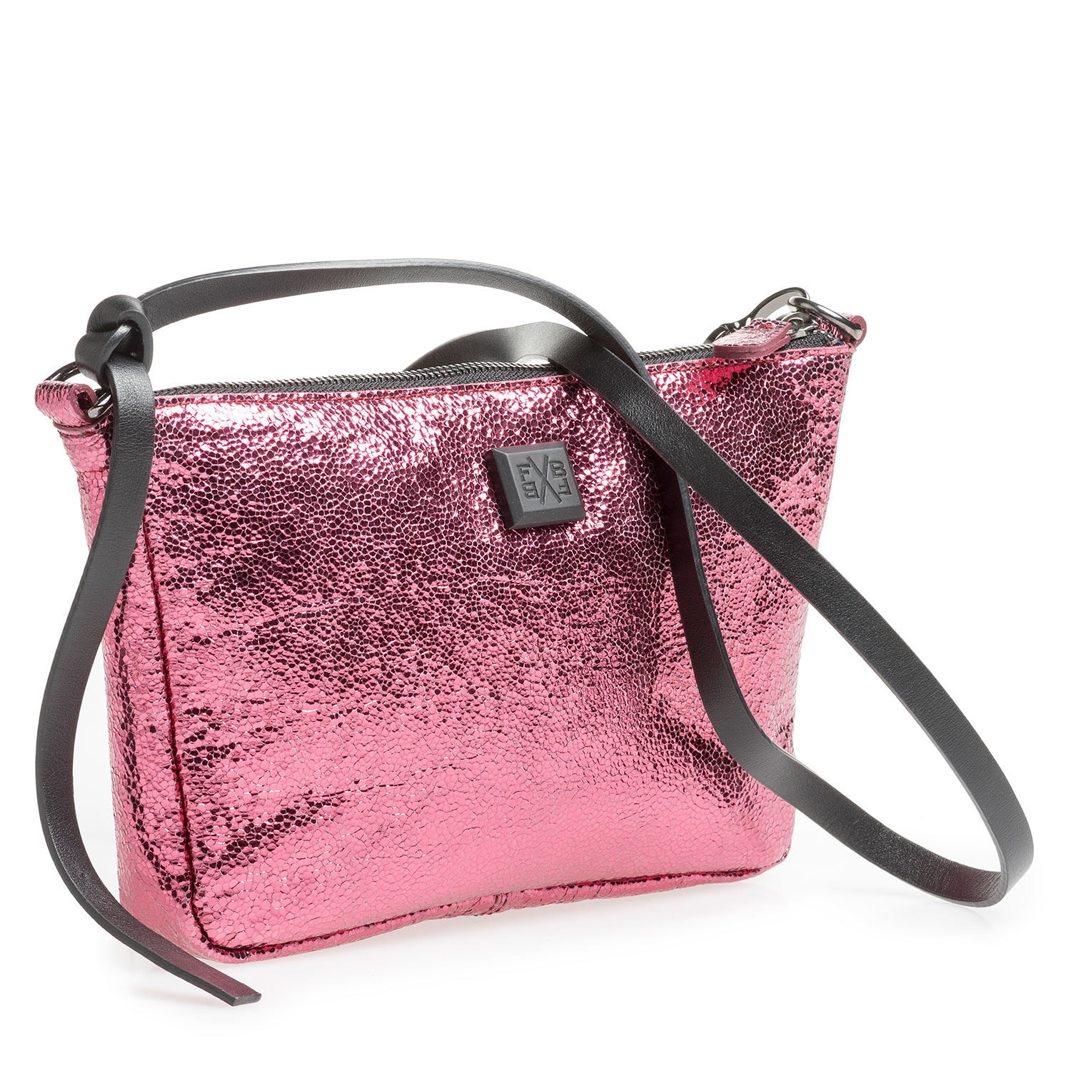 89019/12 - Pink leather bag with metallic print