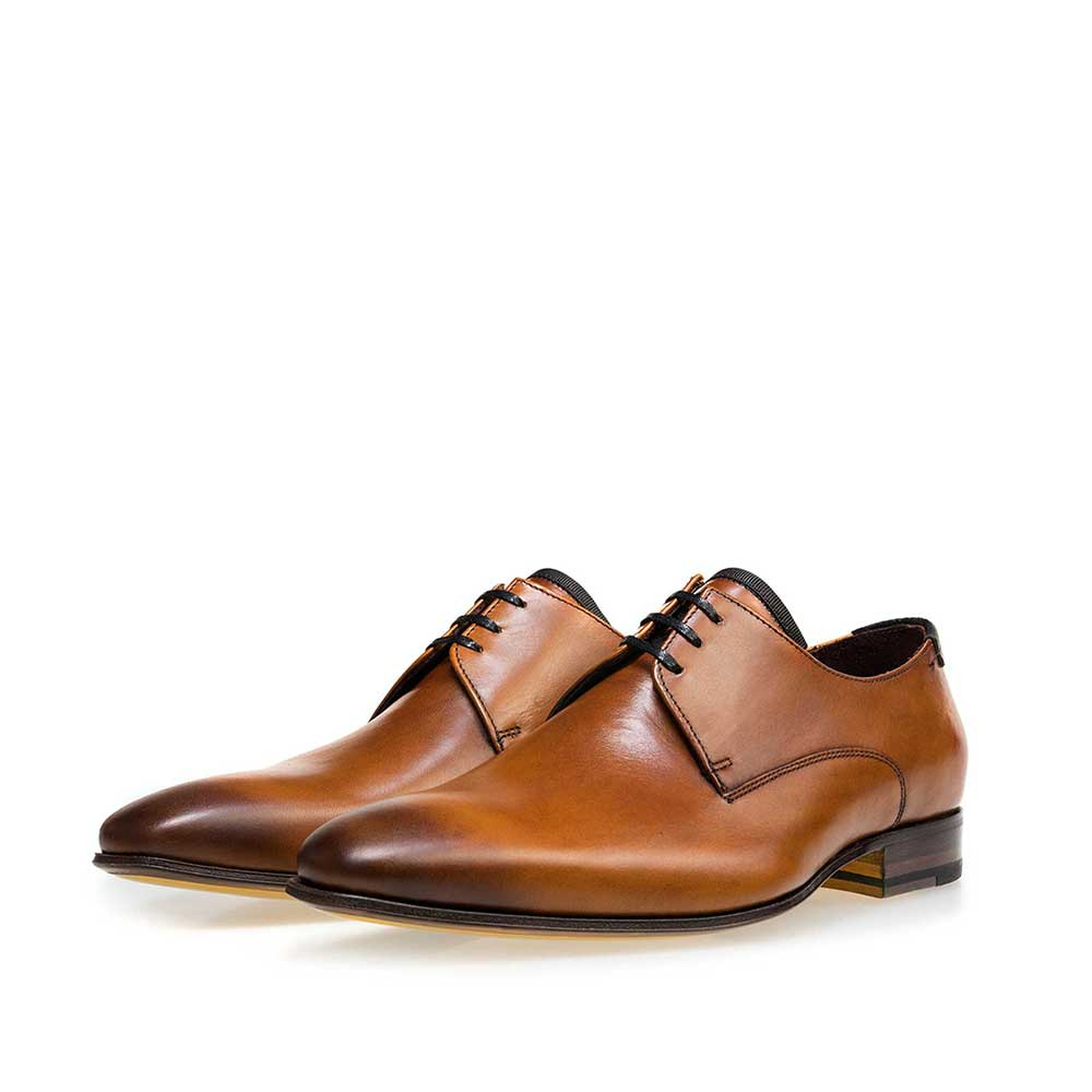 14095/00 - Cognac-coloured calf's leather lace shoe