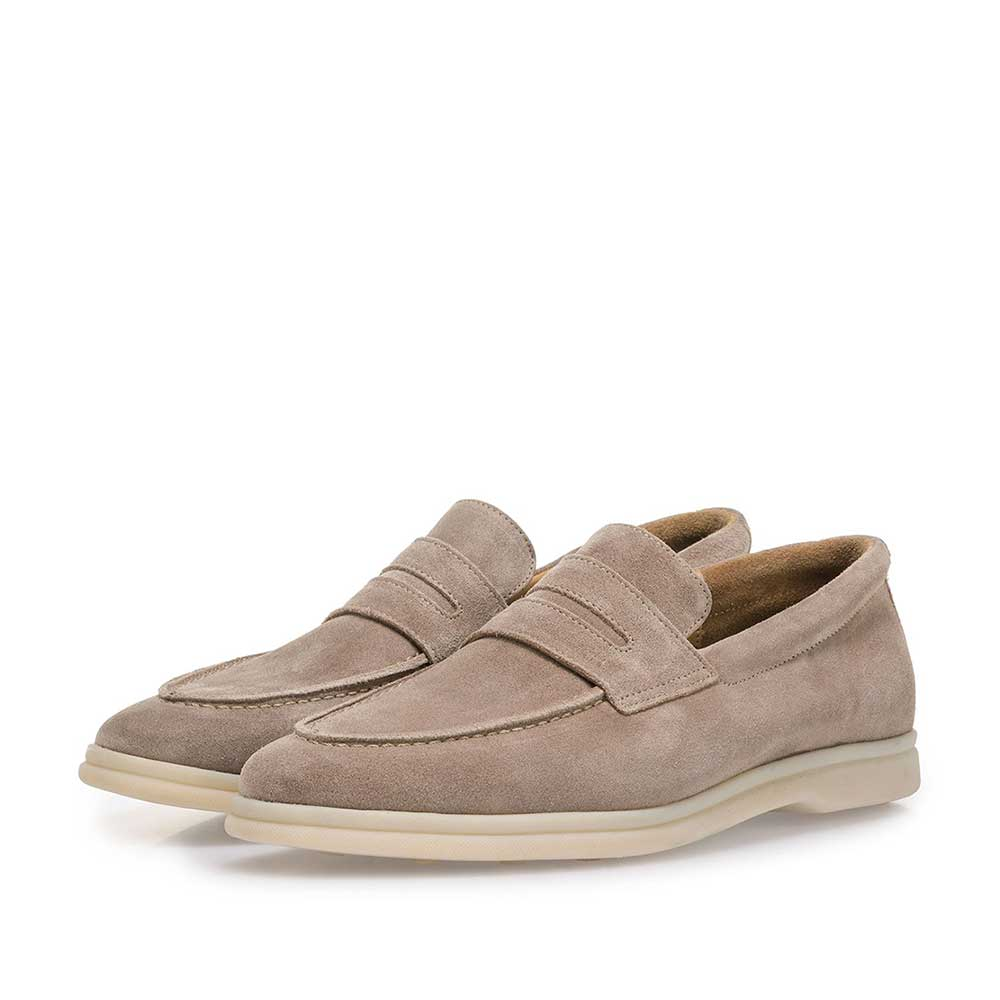 11205/02 - Beige suede leather loafer