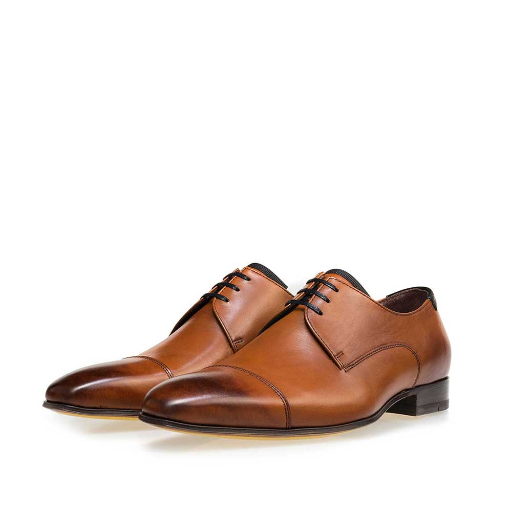 14192/00 - Floris van Bommel cognac leather men's lace-up shoe
