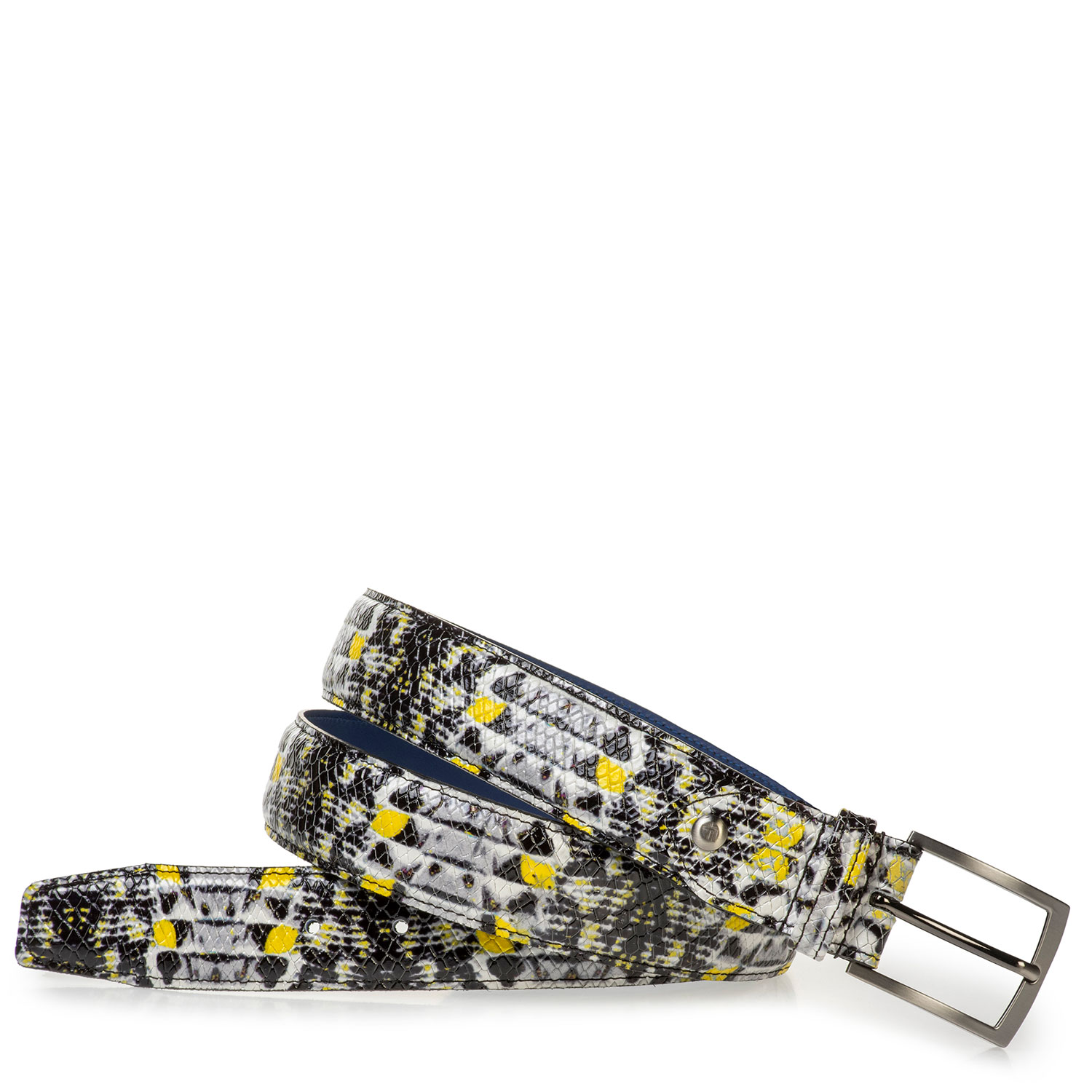 75201/98 - Black and grey patent leather belt with yellow details