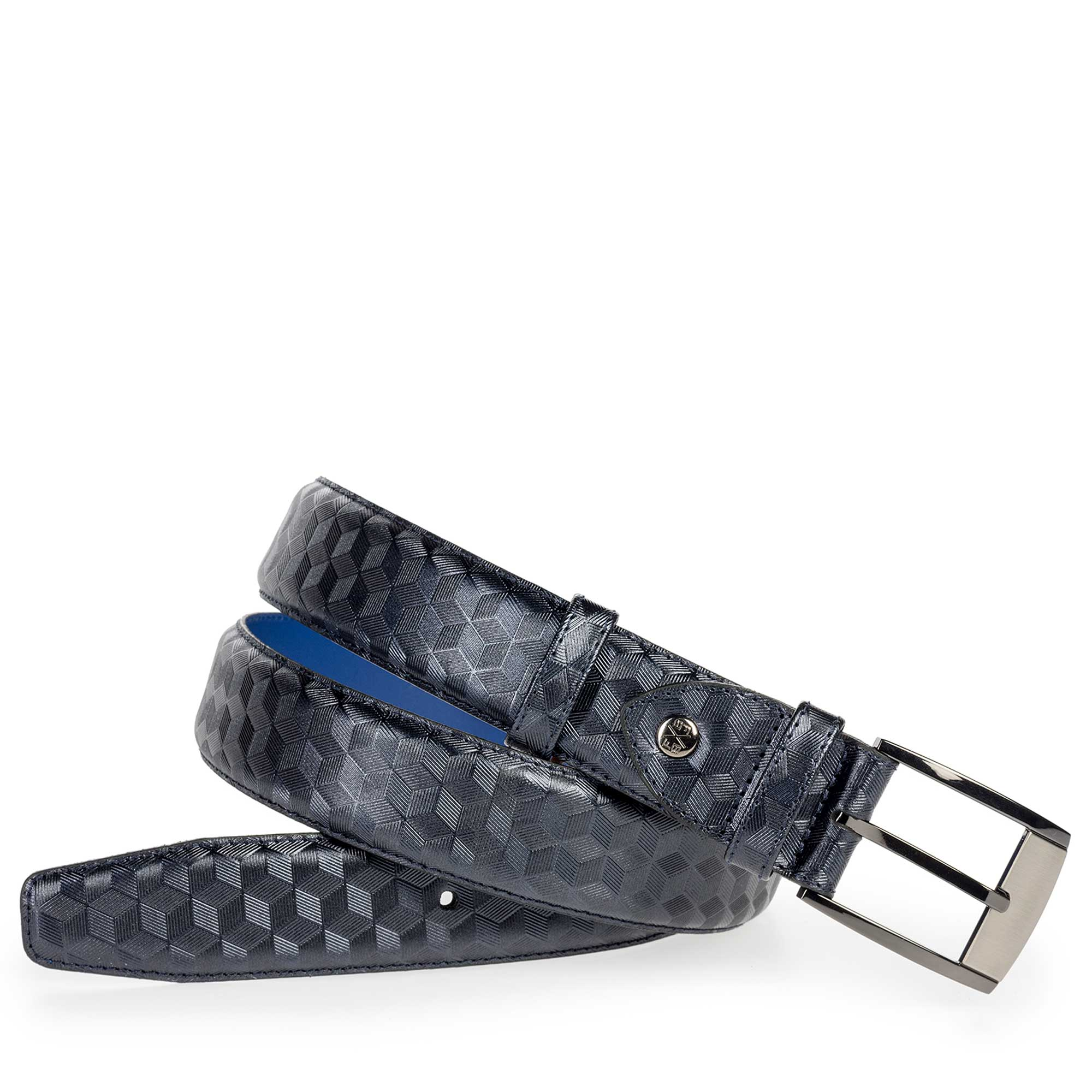 75180/40 - Blue leather belt with hexagon print