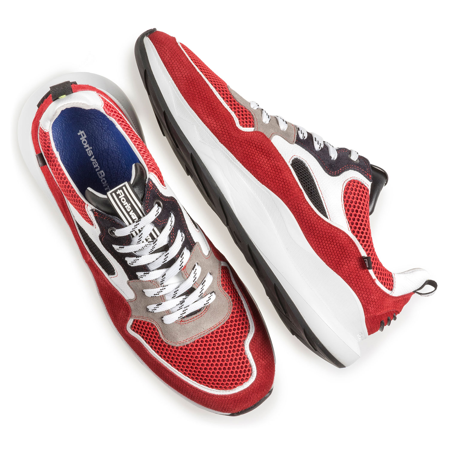 16269/20 - Multi-color suède sneaker rood/wit