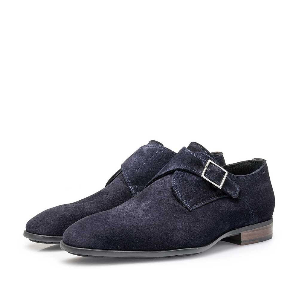 12341/01 - Dark blue waxed suede leather monk strap