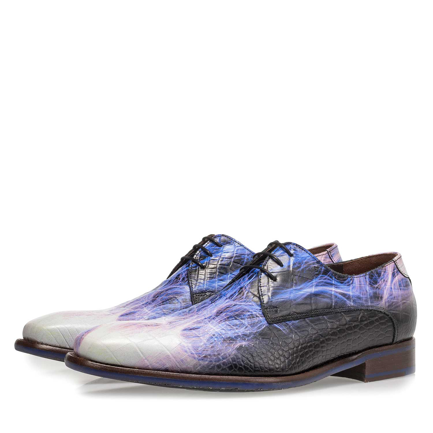 18123/04 - Premium purple calf leather lace shoe with lightning bolt print